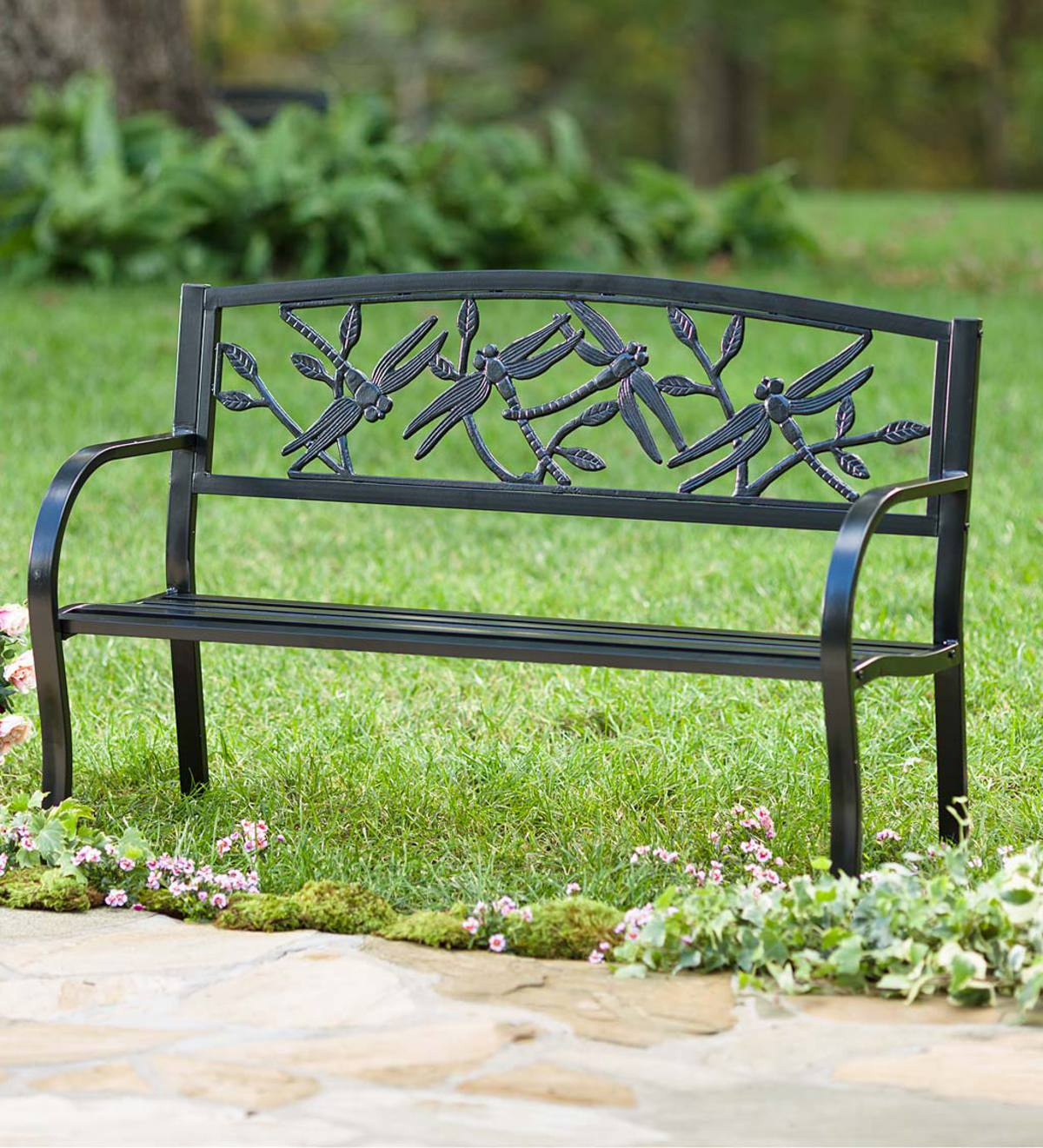 2019 Blooming Iron Garden Benches With Dragonfly Metal Garden Bench (View 15 of 30)