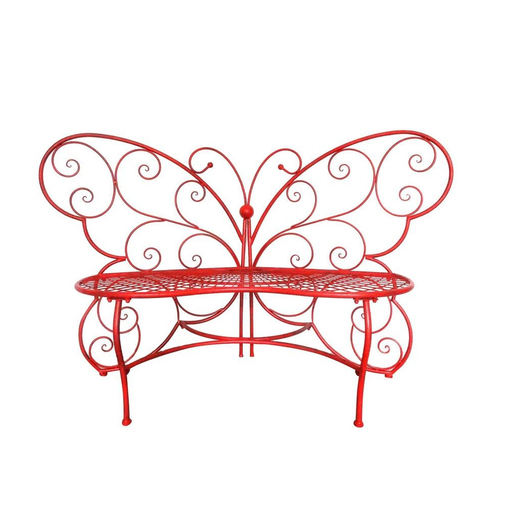 2019 Caryn Colored Butterflies Metal Garden Benches Intended For Butterfly Metal Bench Red – Alpine Corporation In (View 4 of 30)