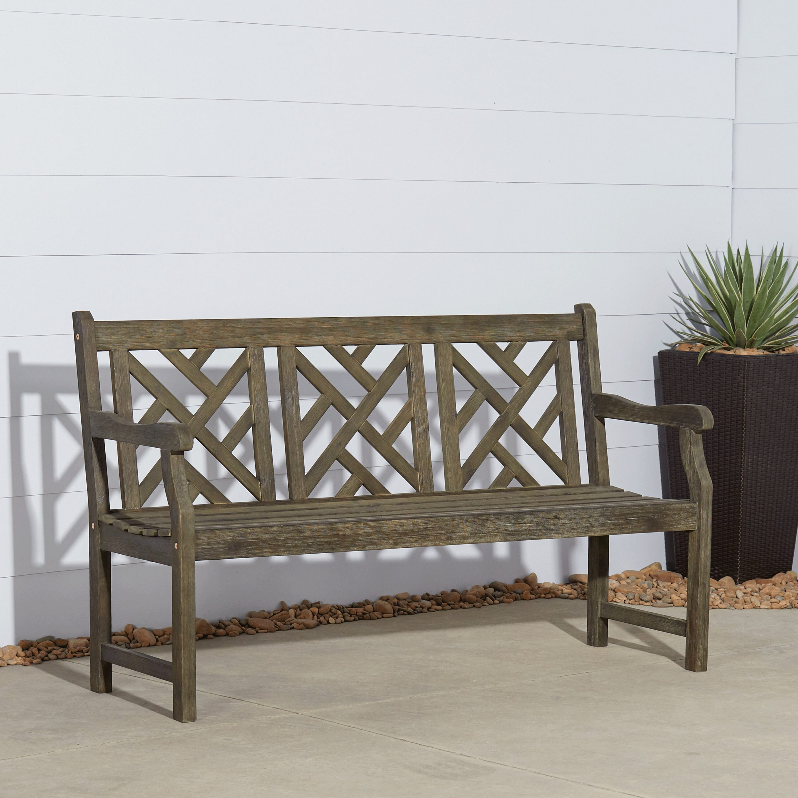 2019 Elsner Acacia Garden Benches Throughout Three Posts™ Elsner Acacia Garden Bench (View 2 of 30)