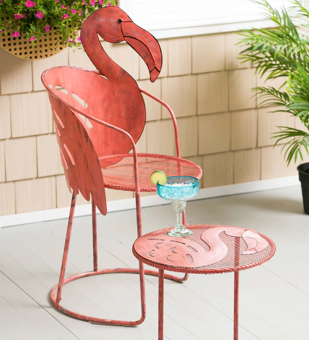 2019 Flamingo Metal Garden Benches Within Flamingo Chair And Side Table Set (View 10 of 30)
