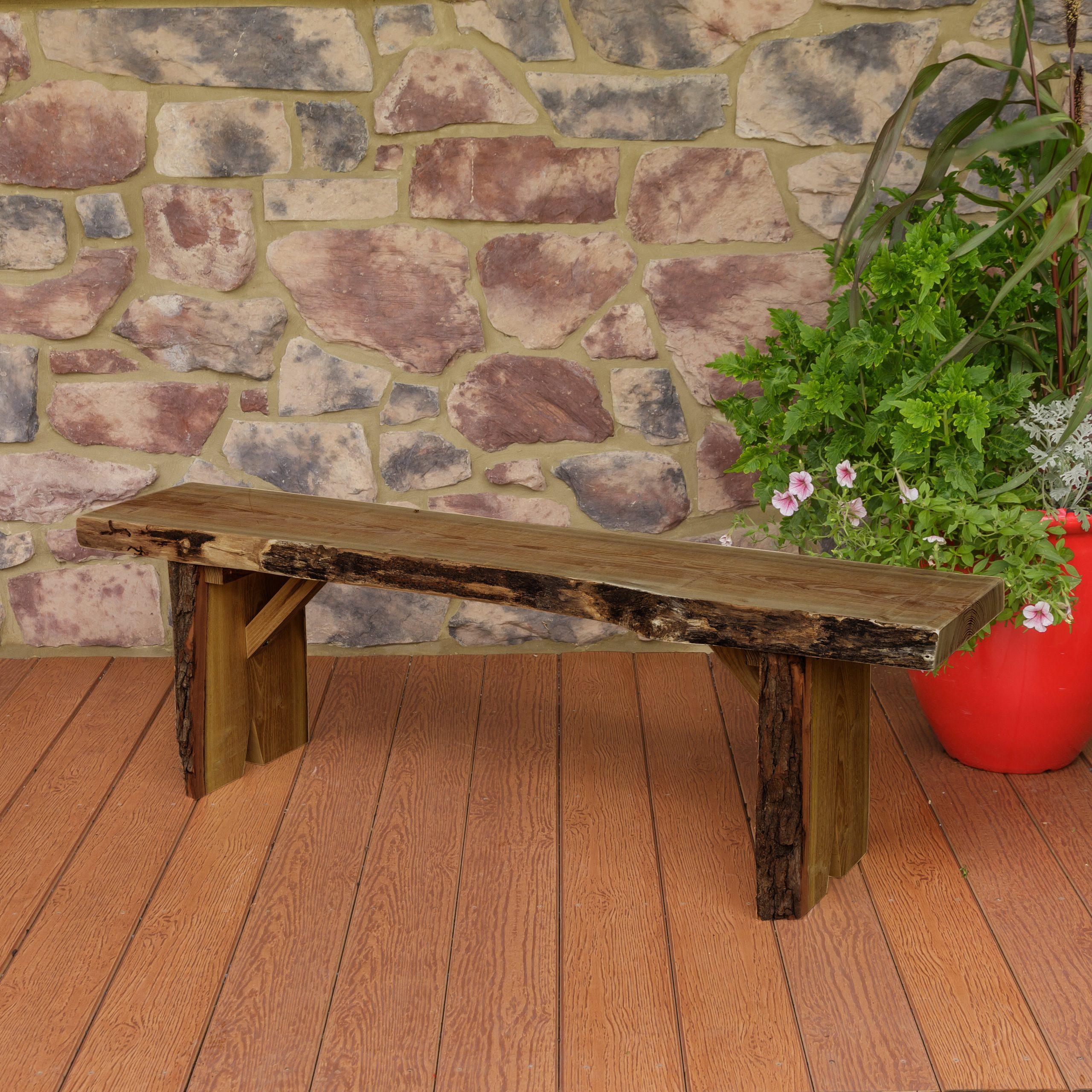 2019 Gabbert Wooden Garden Benches With Regard To Bruggeman Live Edge Solid Wood Garden Bench (View 16 of 30)