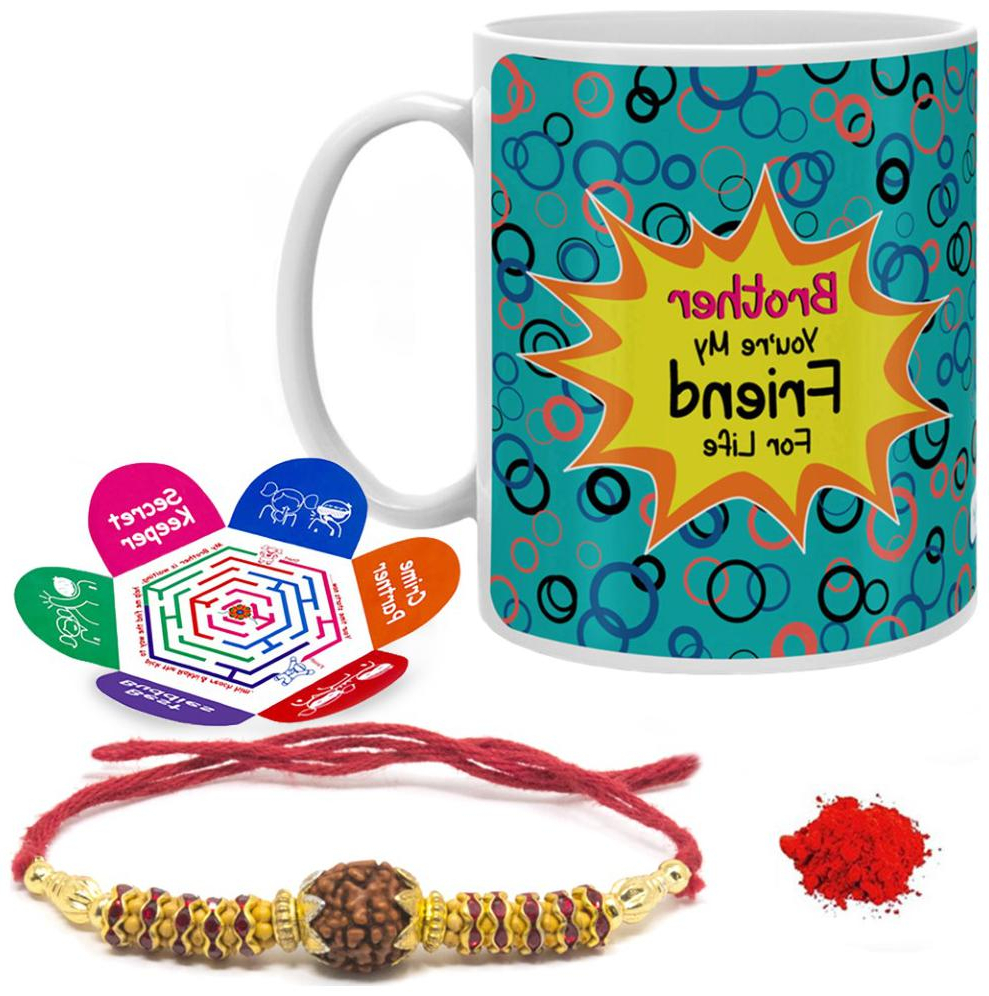 2019 Indigifts Raksha Bandhan Gifts For Brother Ceramic Coffee Mug 330 Ml And Rakhi For Brother – Rakhi;greeting Card And Roli Tika Intended For Brode Ceramic Garden Stools (View 19 of 31)