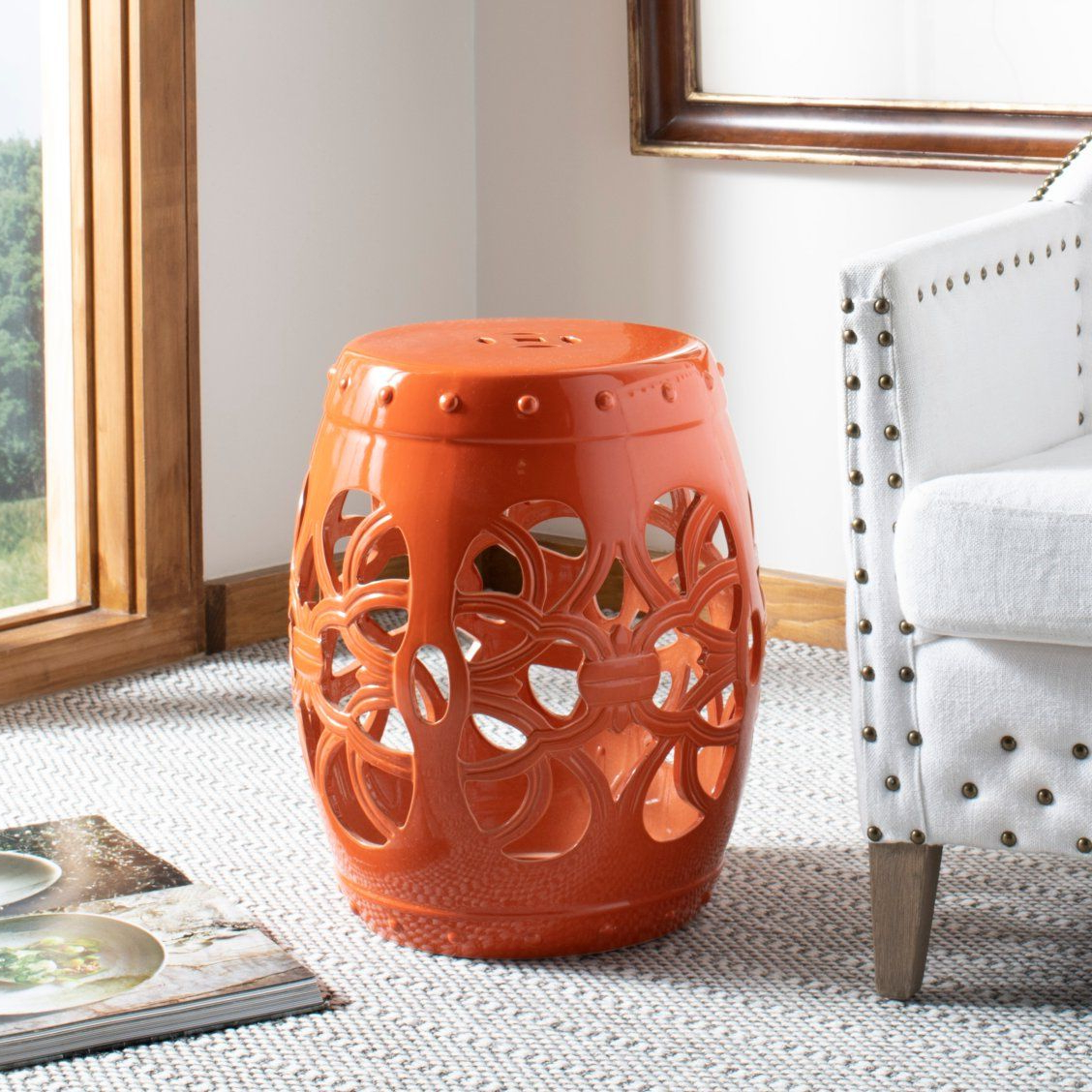 2019 Perked Up With Eye Popping Orange, The Ages Old Motif Of The Regarding Amettes Garden Stools (View 12 of 30)