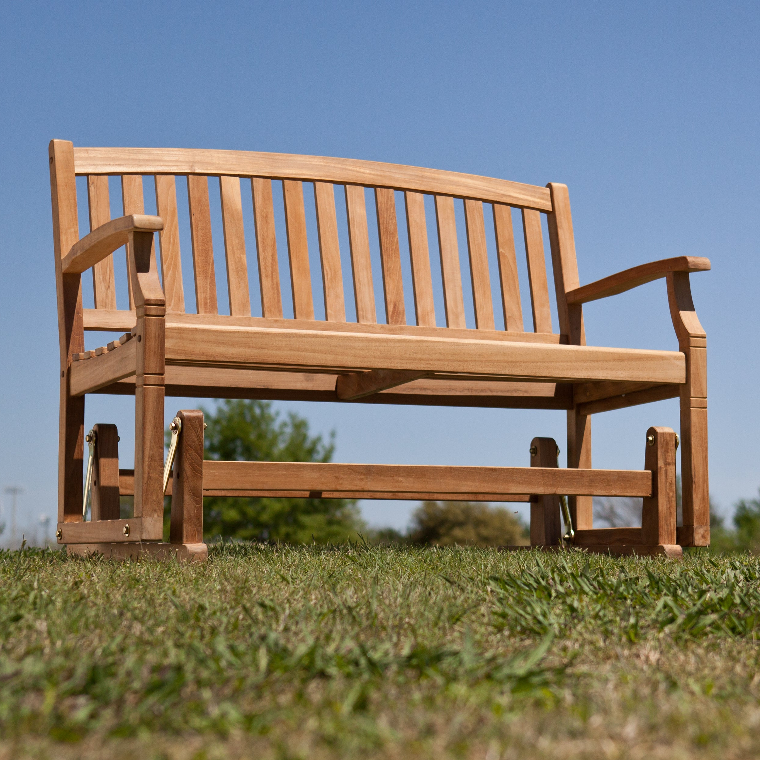 2019 Reseda Teak Outdoor Glider Bench With Coleen Outdoor Teak Garden Benches (View 24 of 30)