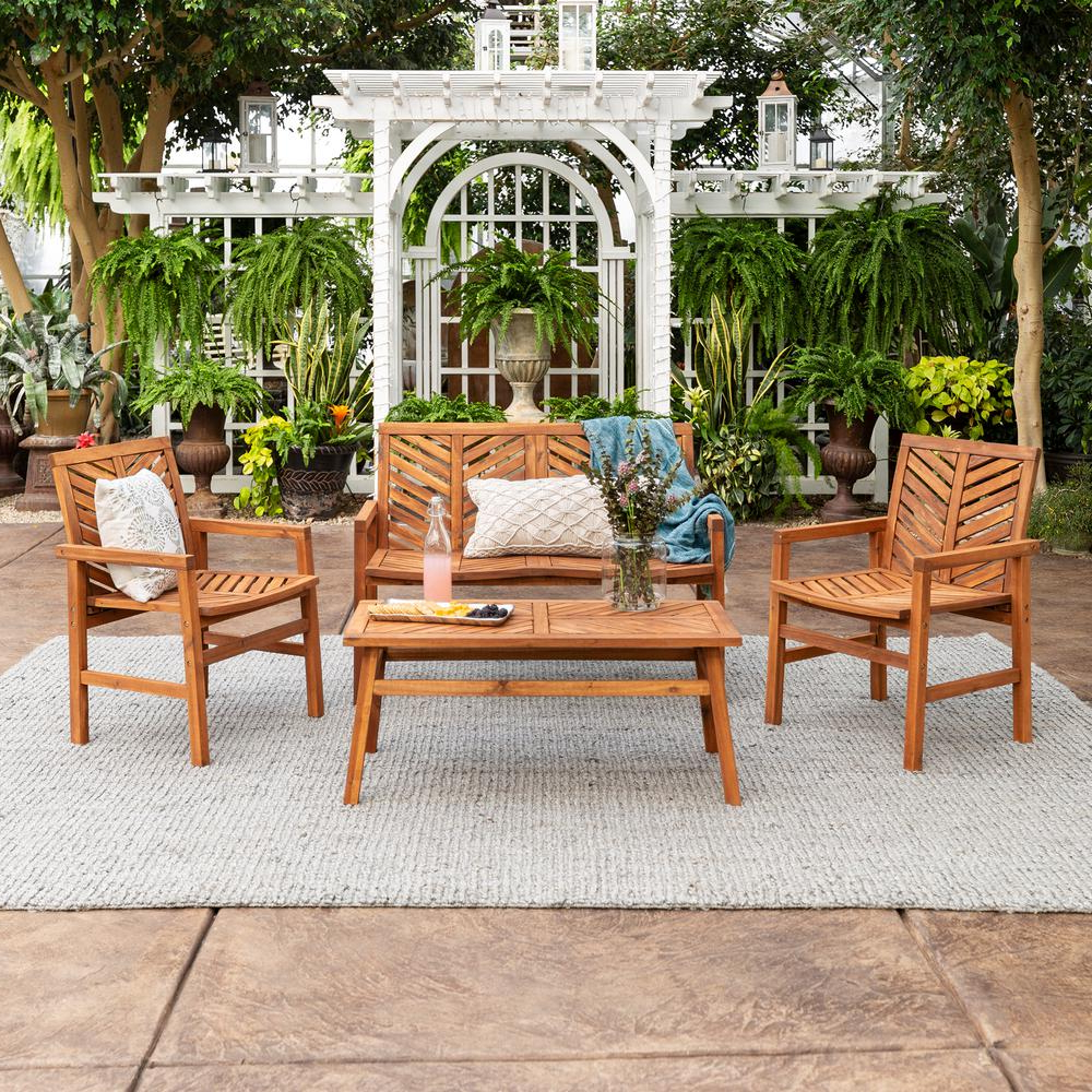 2019 Skoog Chevron Wooden Garden Benches For Walker Edison Furniture Company Chevron Brown 4 Piece Wood Outdoor Patio Chat Set Hd8056 – The Home Depot (View 30 of 30)