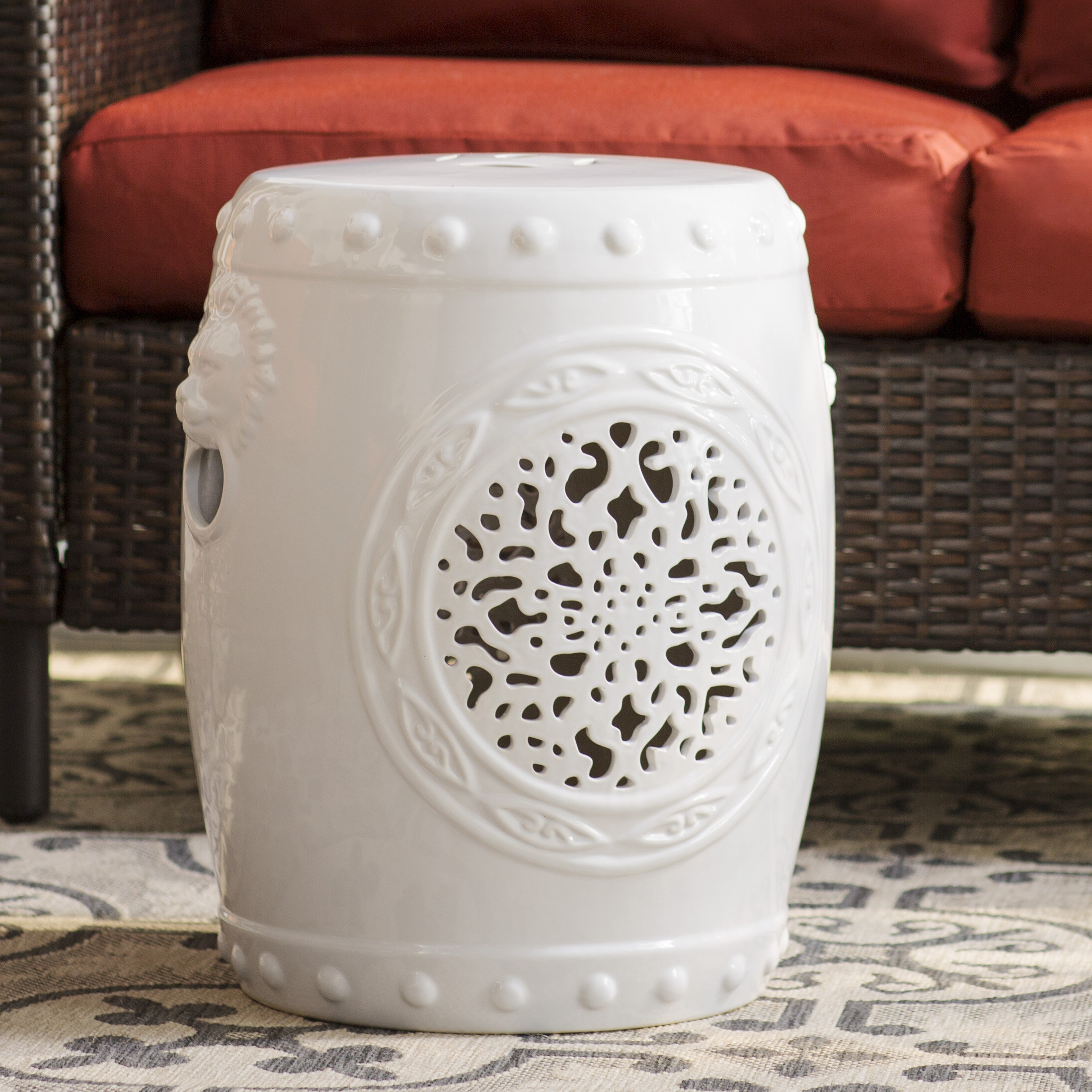 2020 Brode Ceramic Garden Stools Throughout Blue & White Garden Stools You'll Love In (View 12 of 31)