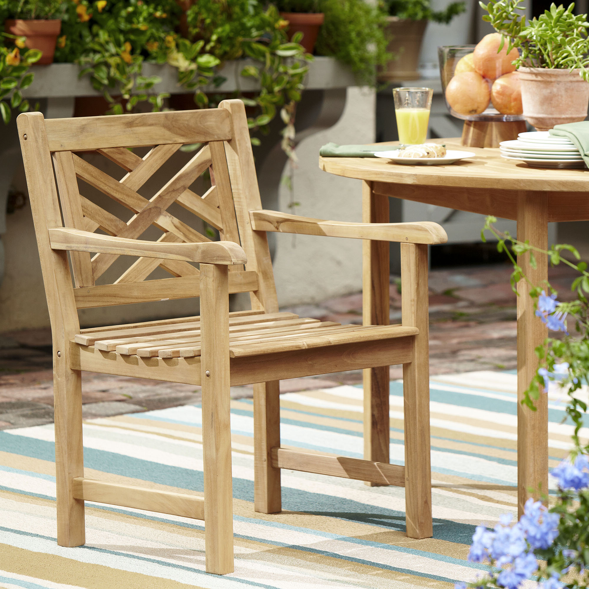 2020 Coleen Outdoor Teak Garden Benches Inside Summerton Lattice Back Teak Patio Dining Chair (View 19 of 30)