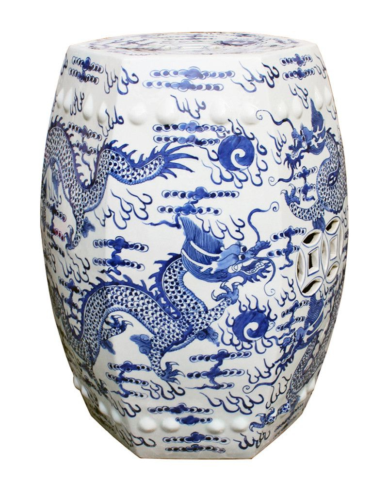 2020 Dragon Garden Stools With Blue & White Dragon Garden Stool – The Pink Pagoda (View 2 of 30)