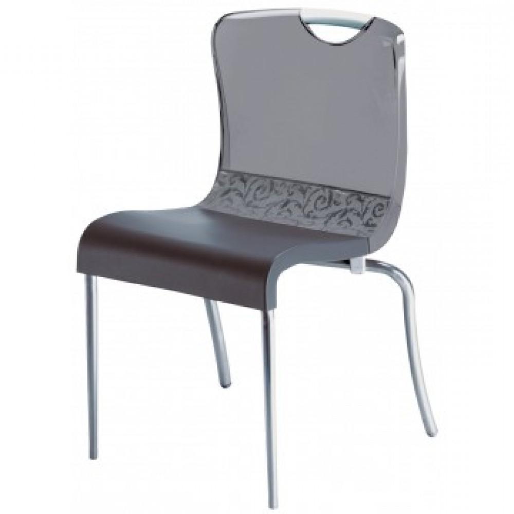 2020 Krystal Stacking Chair Smoke – 12/case With Krystal Ergonomic Metal Garden Benches (View 12 of 30)
