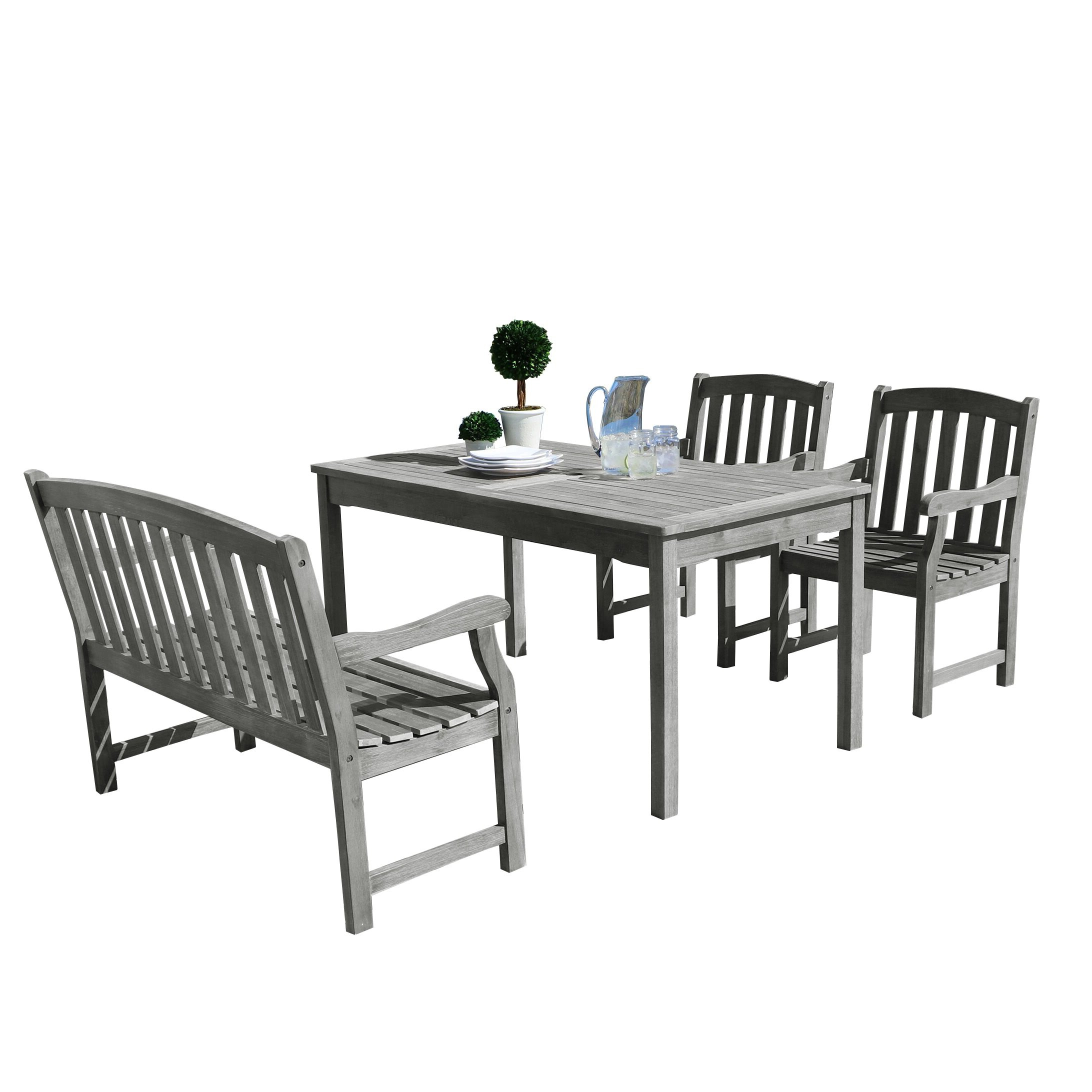 2020 Shelbie Wooden Garden Benches Throughout Shelbie 4 Piece Dining Set (View 27 of 30)