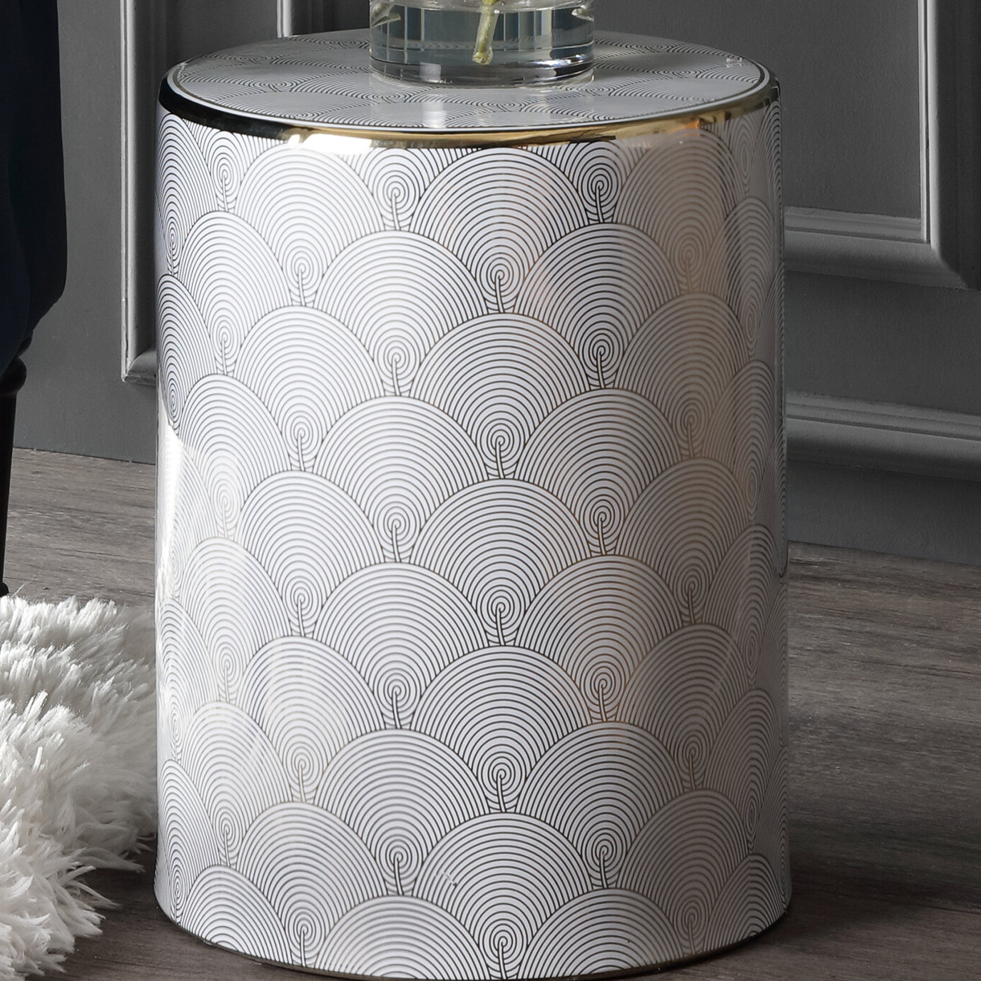 2020 Vandergriff Fish Scale Modern Ceramic Garden Stool Inside Svendsen Ceramic Garden Stools (View 8 of 30)