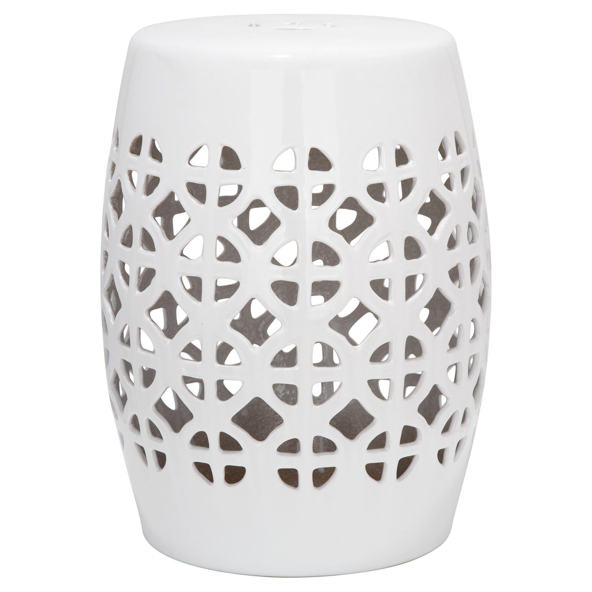 2020 White Circle Lattice Garden Stool – White – Safavieh For Keswick Ceramic Garden Stools (View 9 of 30)