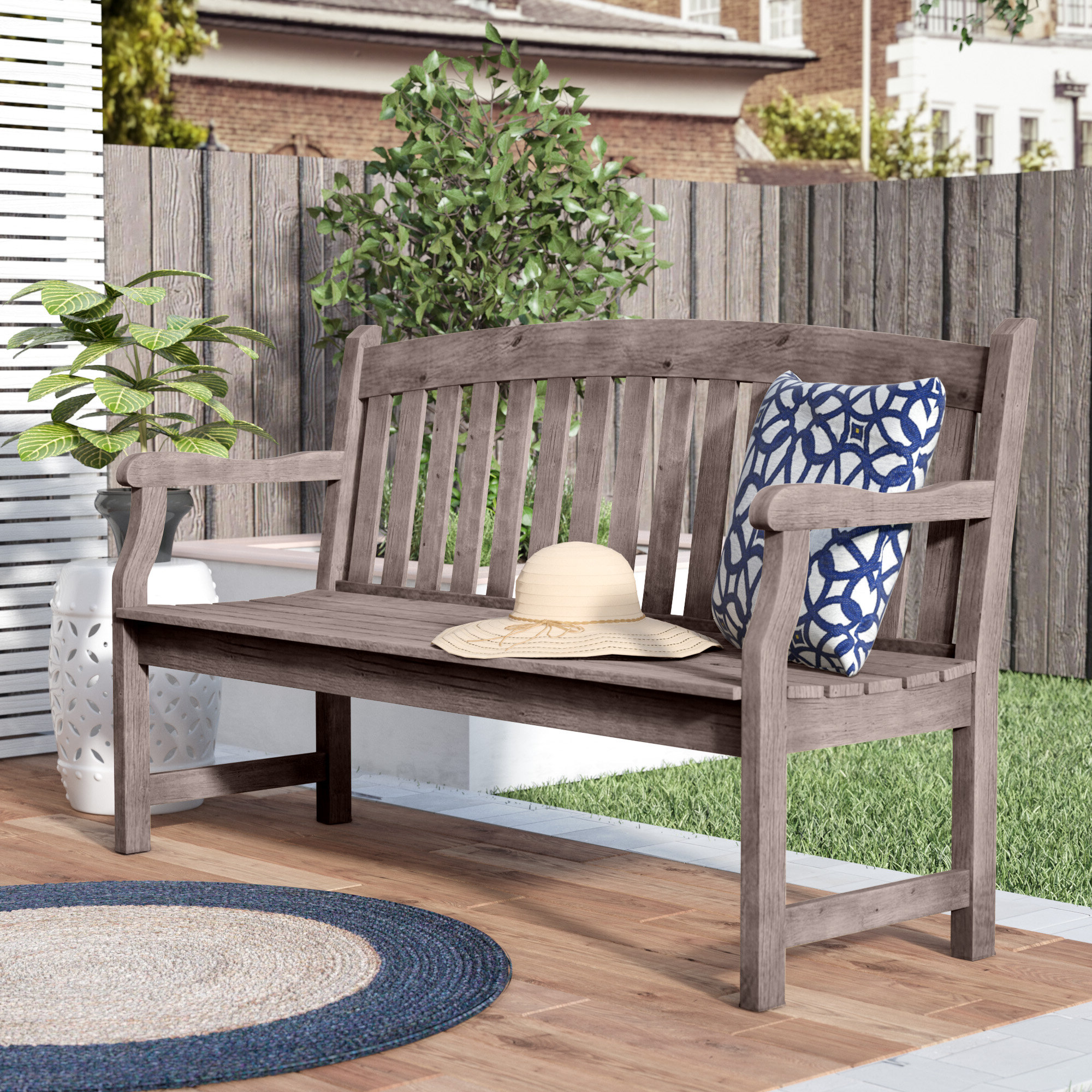 2020 Zephyrine Patio Dining Wooden Picnic Bench Inside Lucille Timberland Wooden Garden Benches (View 13 of 30)