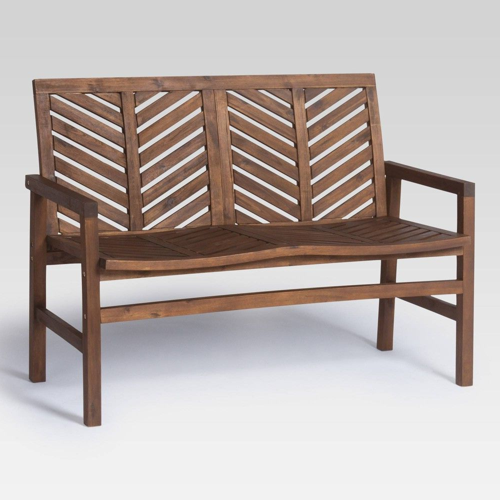 "48"" Wood Patio Love Seat – Dark Brown – Saracina Home In Within 2020 Hampstead Teak Garden Benches (View 13 of 30)"