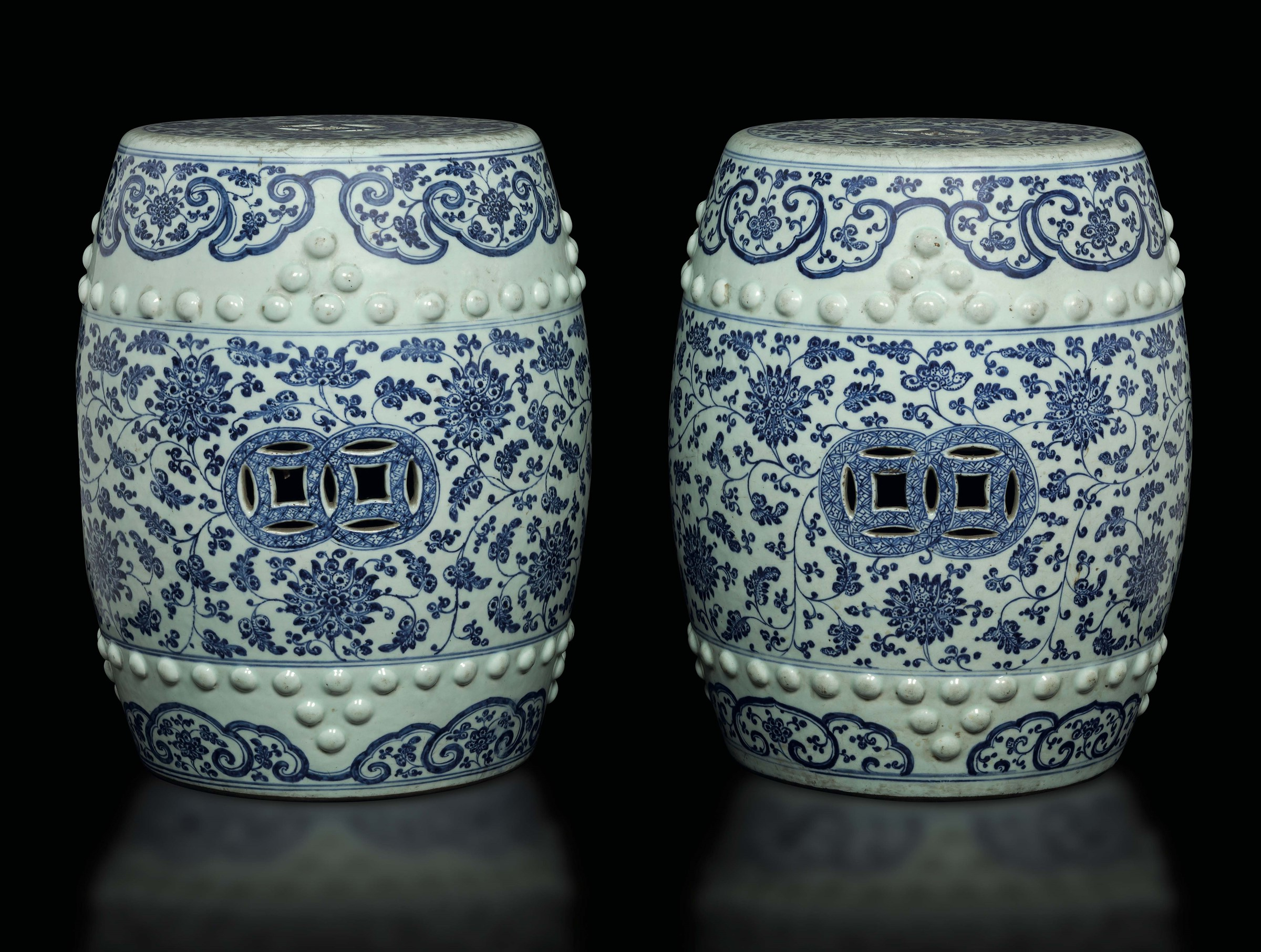 A Pair Of Blue And White Garden Seats, China, Qing Dynasty For Recent Renee Porcelain Garden Stools (View 18 of 30)