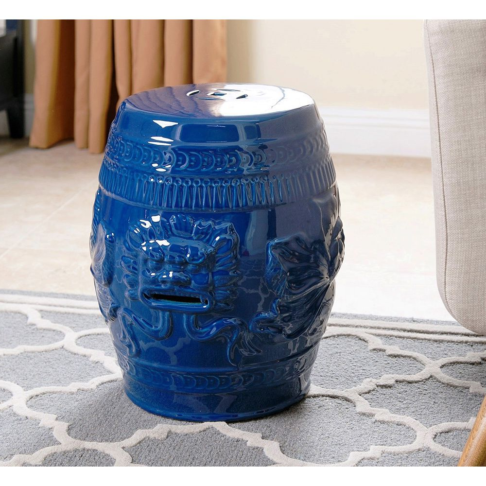 Abbyson Chinese Lion Navy Blue Green Ceramic Garden Stool Inside Well Liked Irwin Blossom Garden Stools (View 13 of 30)