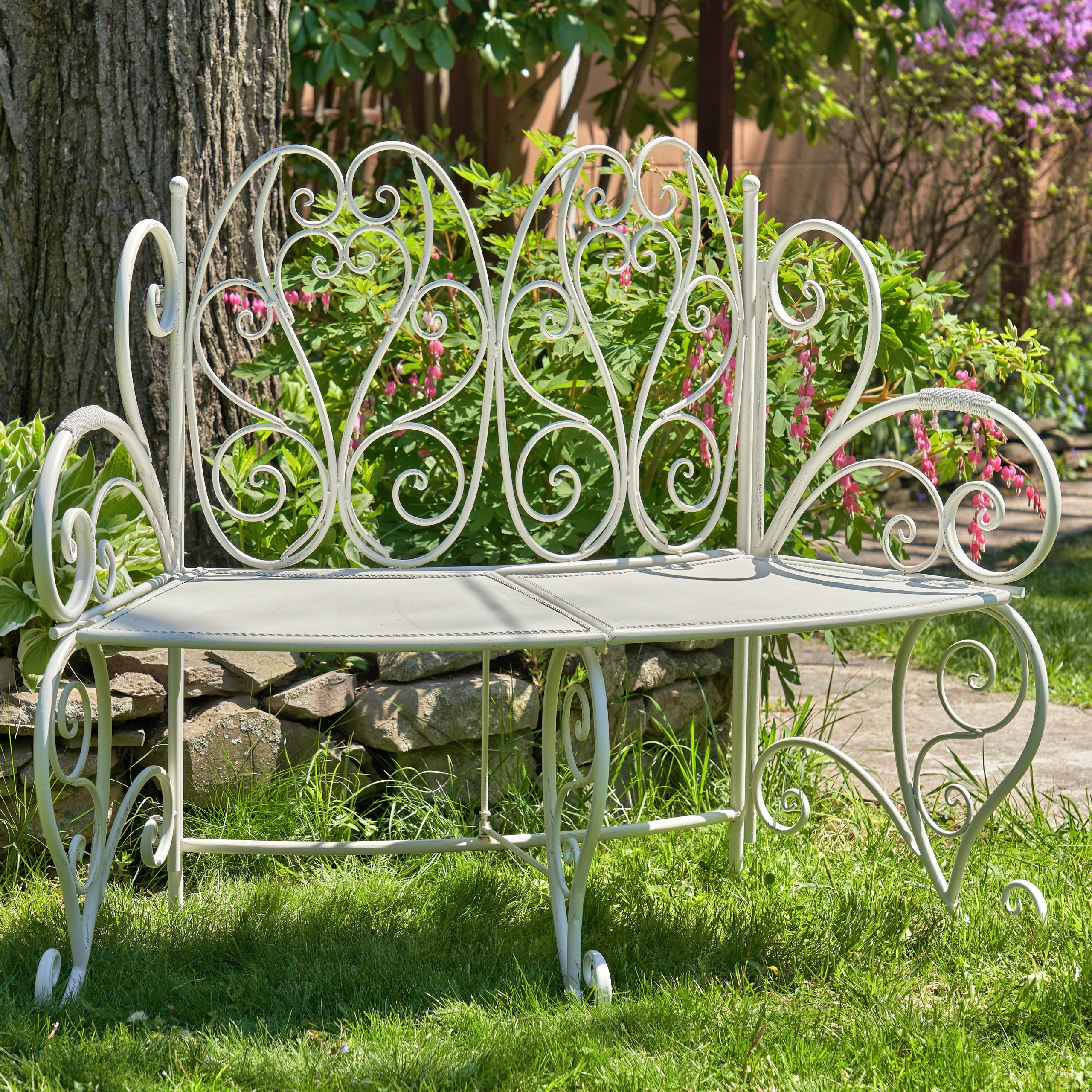 Abdullah Galina Folding Curved Iron Garden Bench Pertaining To Recent Norrie Metal Garden Benches (View 10 of 30)