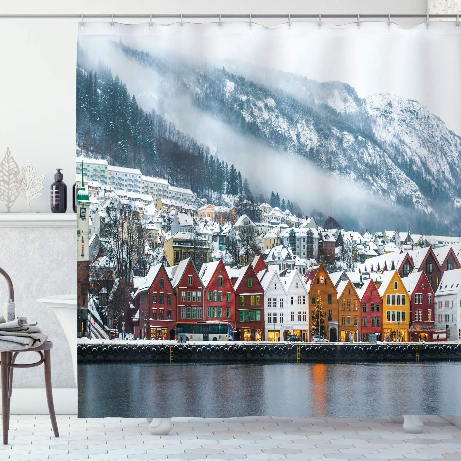 Ambesonne European Shower Curtain, Winter View Of Bruges Norway Northern  Mountain Landscape European Print Urban, Cloth Fabric Bathroom Decor Set  With In Most Recently Released Winterview Garden Stools (View 26 of 30)