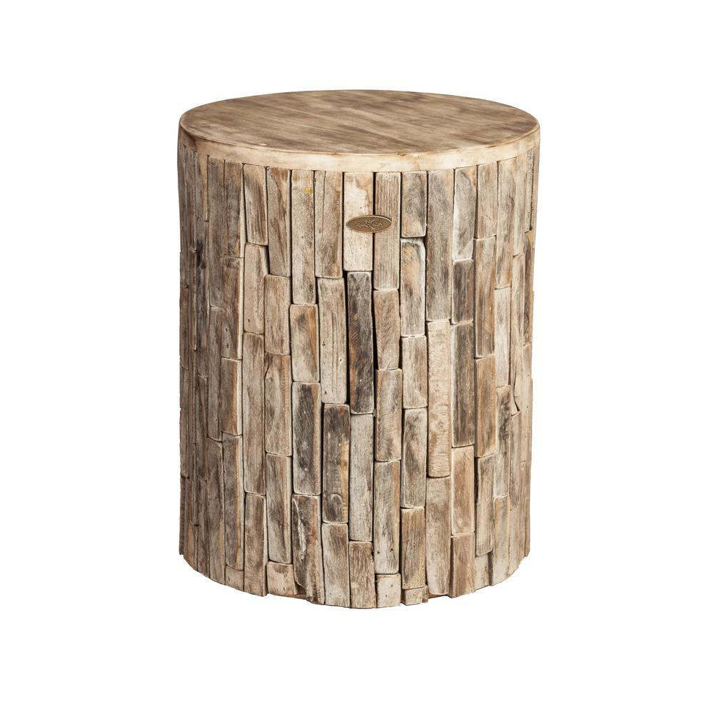 Amettes Garden Stools Intended For Fashionable Patio Sense Elyse Round Wood Outdoor Garden Stool – Home Depot (View 13 of 30)