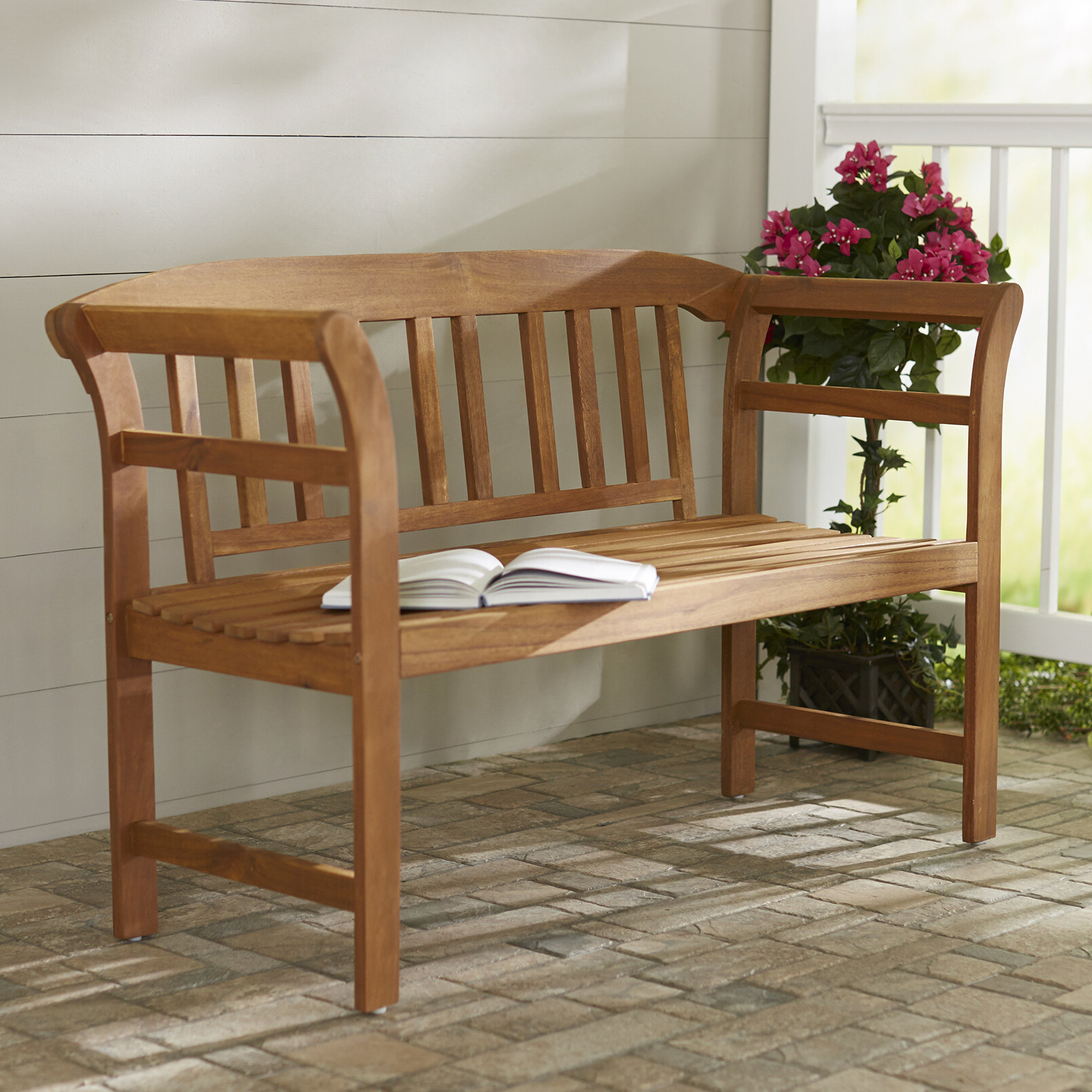 Archdale 2 Seat Acacia Wooden Garden Bench With Well Known Gabbert Wooden Garden Benches (View 19 of 30)