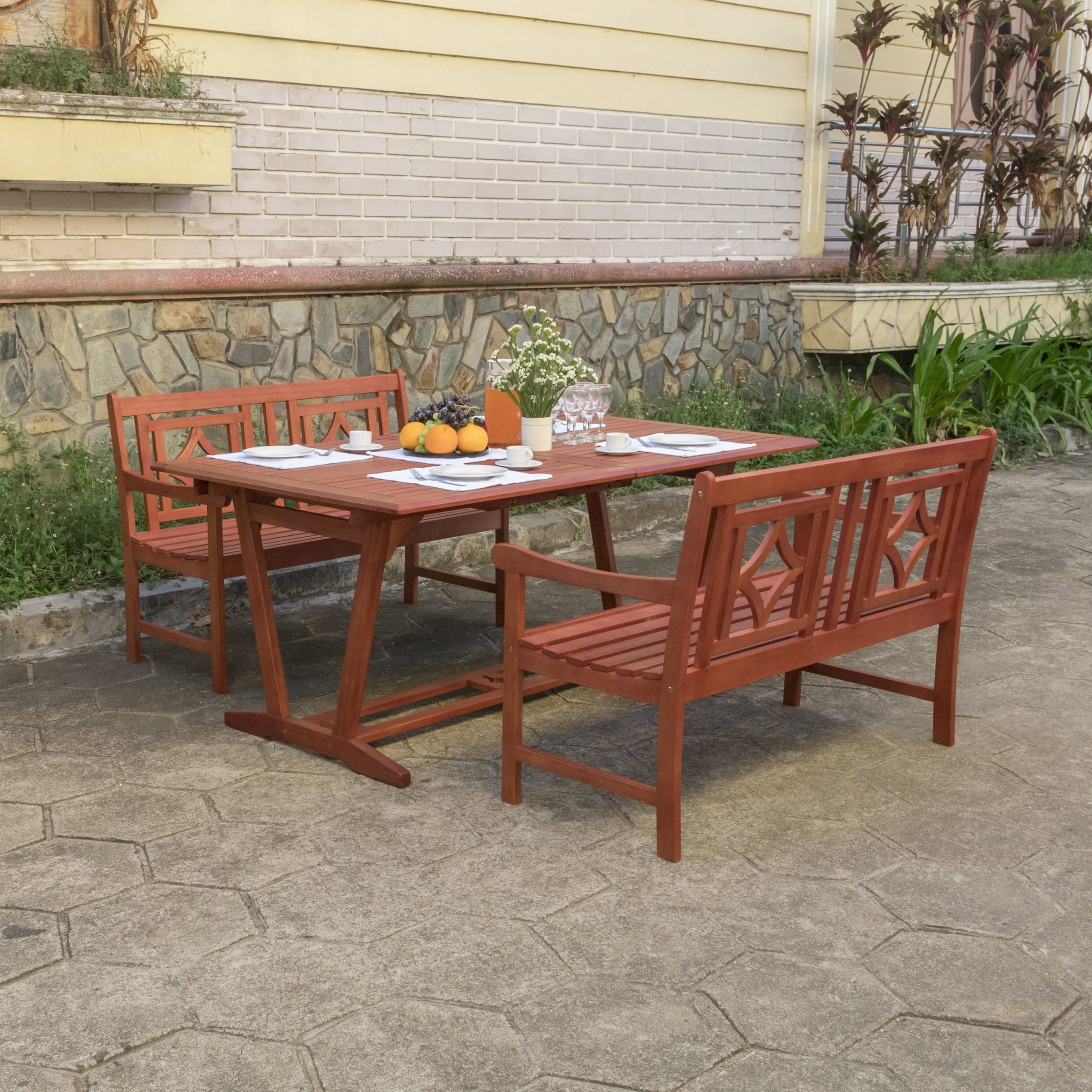 Best And Newest Amabel 3 Piece Patio Dining Set Inside Amabel Patio Diamond Wooden Garden Benches (View 9 of 30)