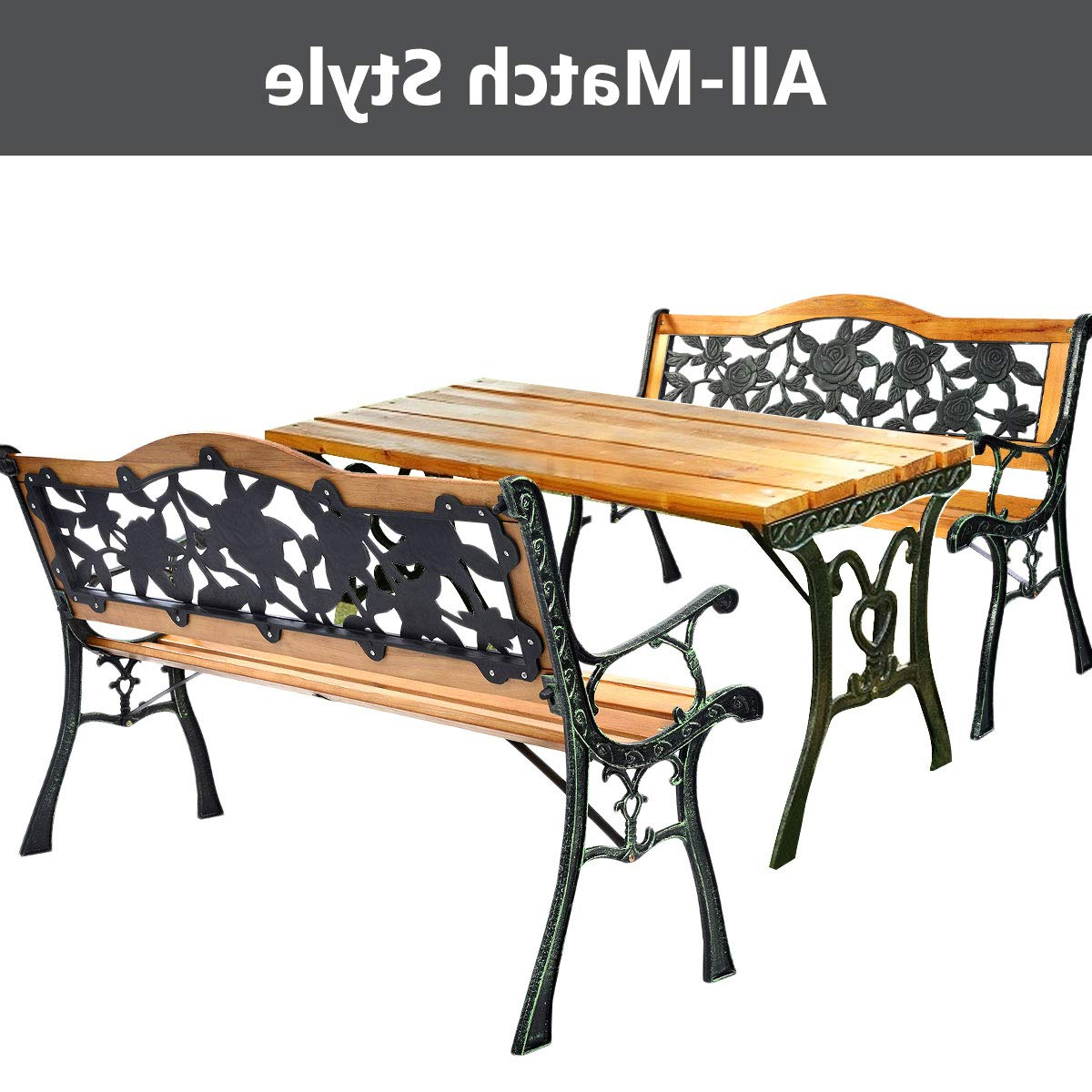 Best And Newest Celtic Knot Iron Garden Benches Throughout Benches Black Tubular And Cast Iron 50 In L X 17½ In W X 34½ (View 21 of 30)