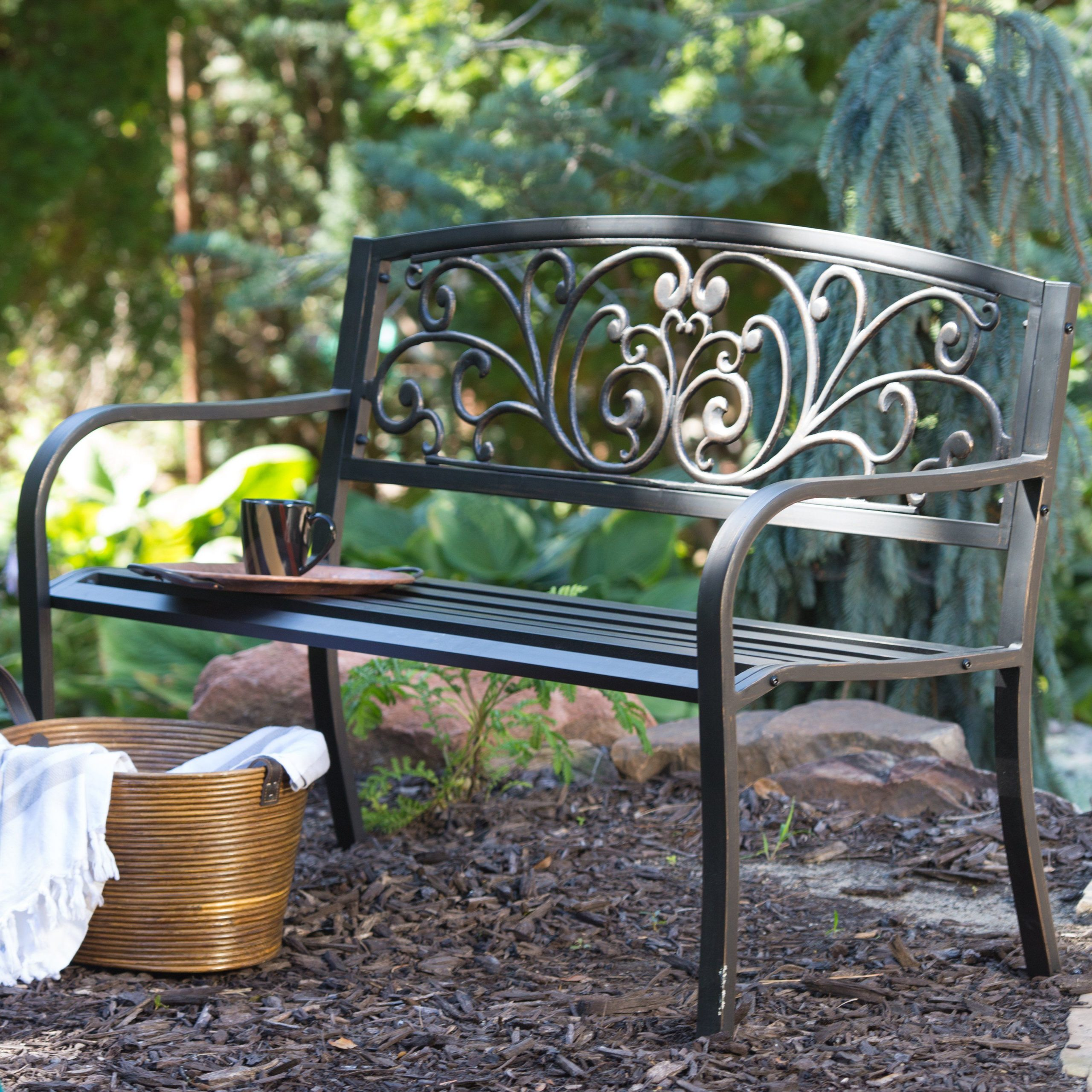 Best And Newest Coral Coast Scrolling Hearts Curved Back Metal Garden Bench Inside Celtic Knot Iron Garden Benches (View 23 of 30)