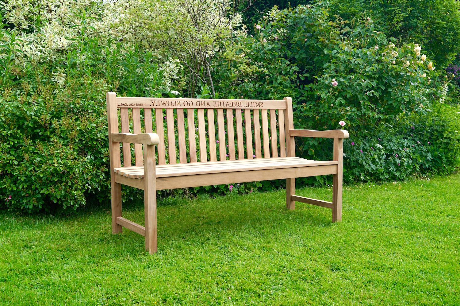 Best And Newest Manchester Solid Wood Garden Benches Intended For Engraved Wooden Garden Bench (View 8 of 30)