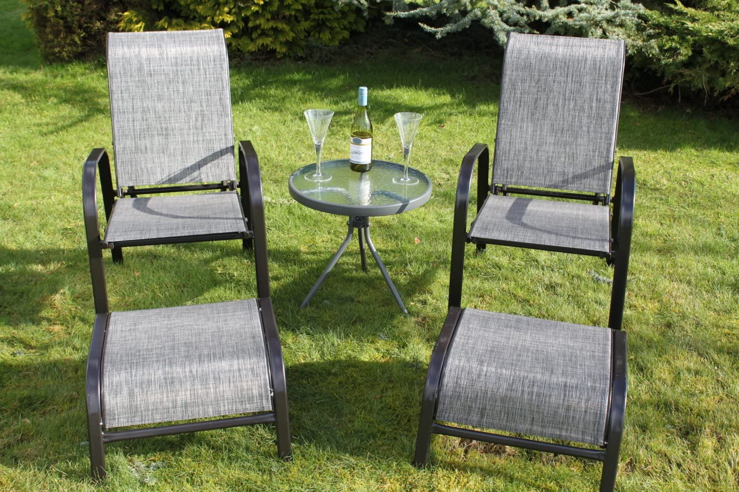 Best And Newest Olive Grove Set Of 2 Reclining Garden Chairs With 2 Foot Stools And A Side Table – Grey Weatherproof Textoline Within Norrie Metal Garden Benches (View 25 of 30)