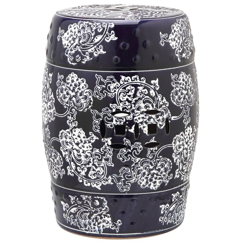 Best And Newest Safavieh Midnight Flower Navy And White Garden Patio Stool With Regard To Keswick Ceramic Garden Stools (View 12 of 30)