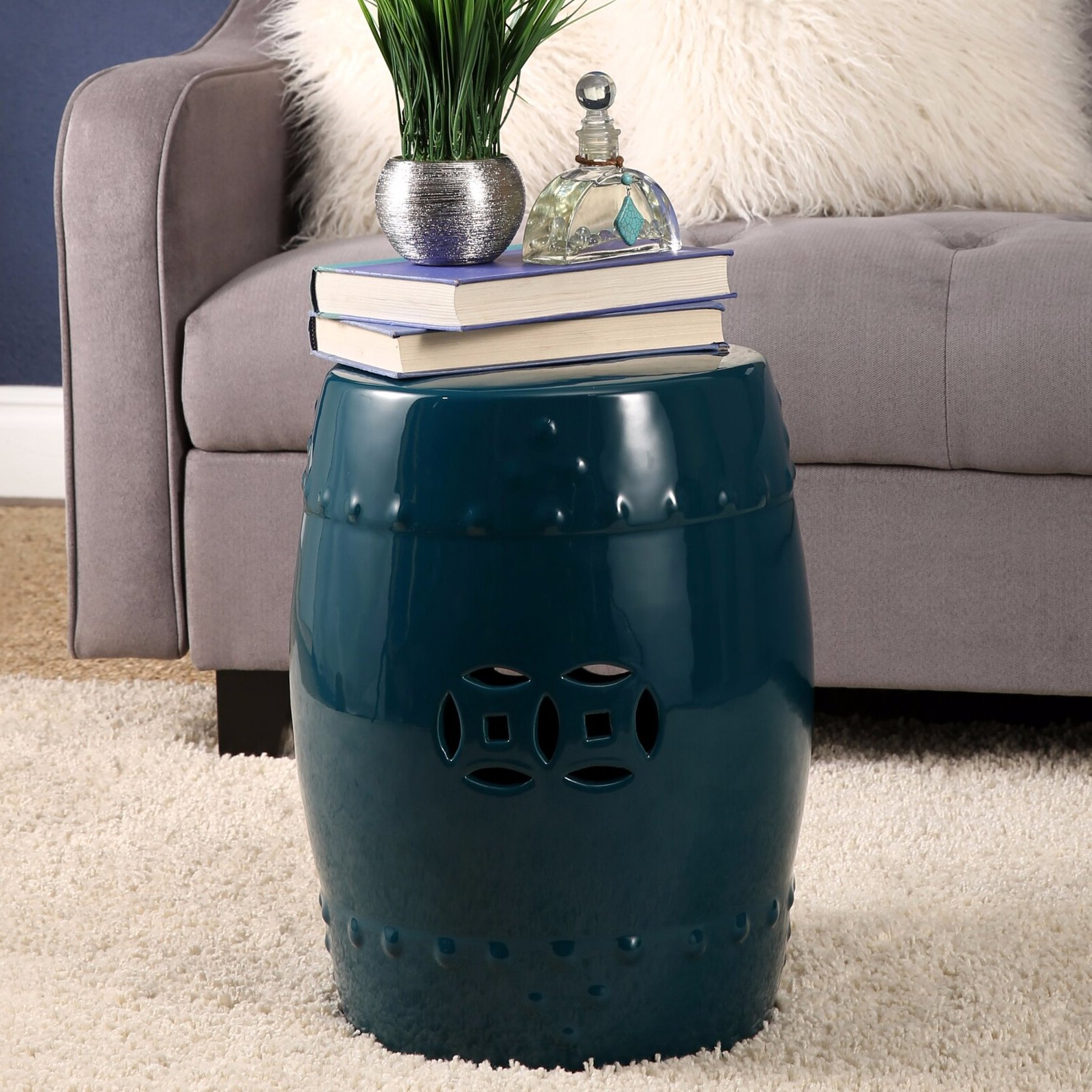 Best And Newest Wurster Ceramic Drip Garden Stools Within Blue & Green Garden Stools You'll Love In (View 8 of 30)
