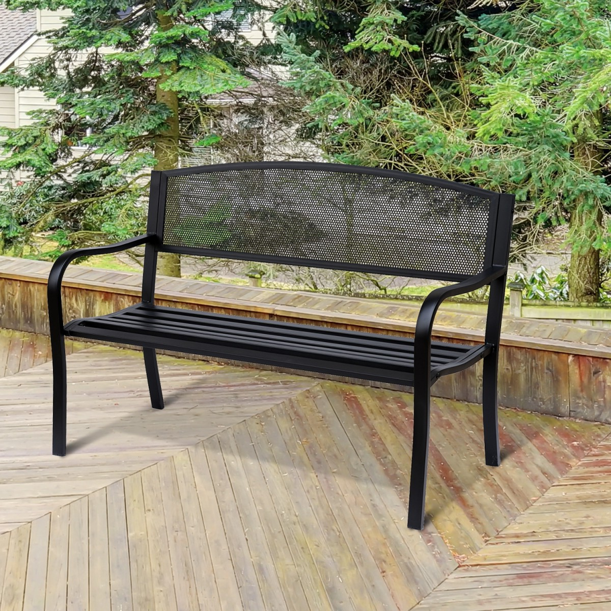 Blooming Iron Garden Benches Intended For Best And Newest 2 Seater Metal Garden Bench In Black (View 20 of 30)
