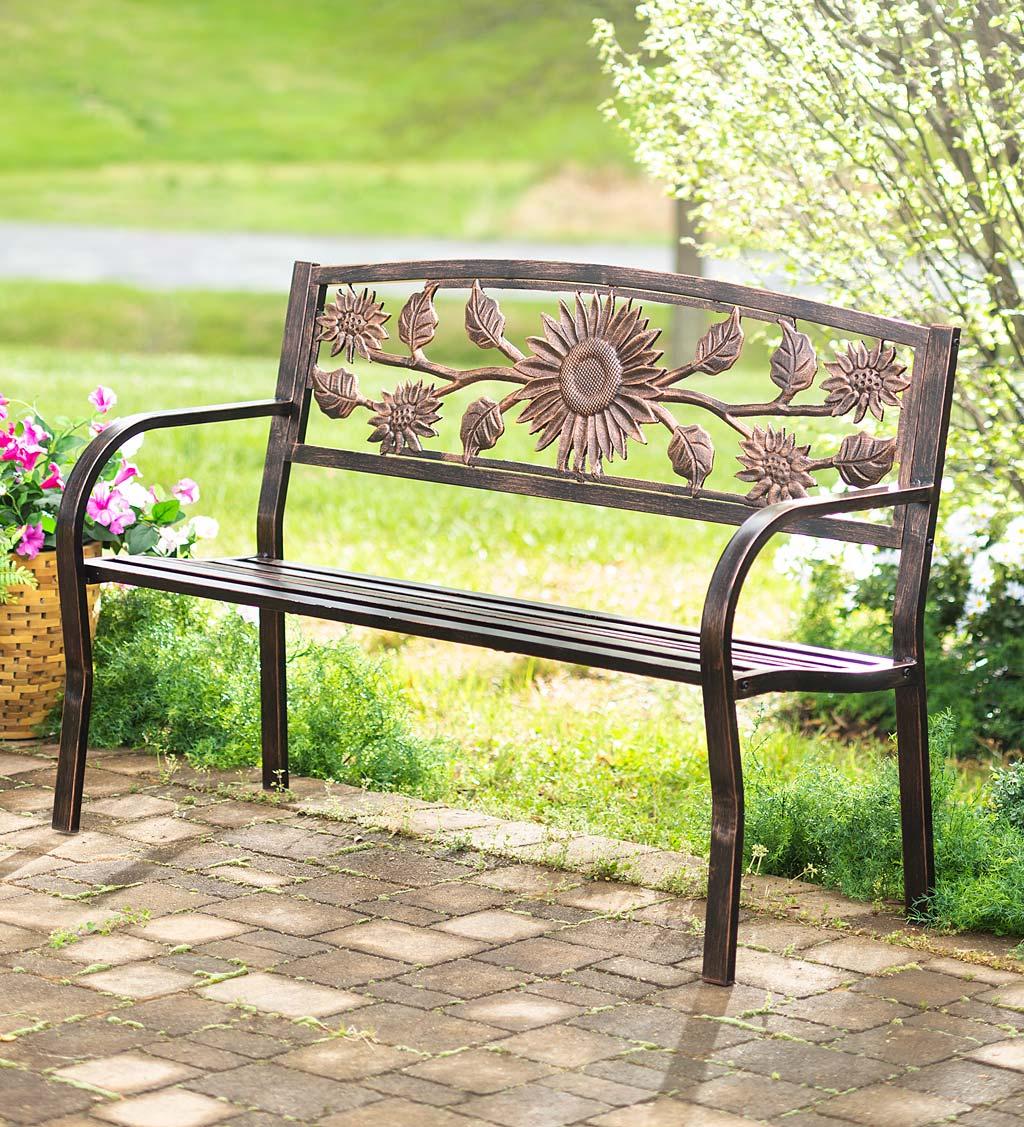 Blooming Iron Garden Benches Regarding Well Liked Sunflower Metal Garden Bench (View 10 of 30)