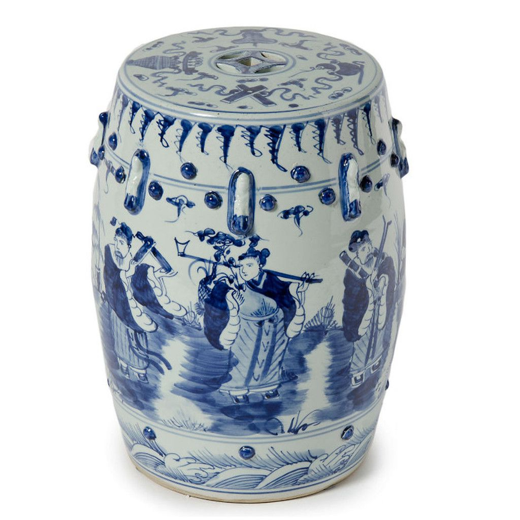 Blue & White 8 Immortals Garden Stool (View 8 of 30)