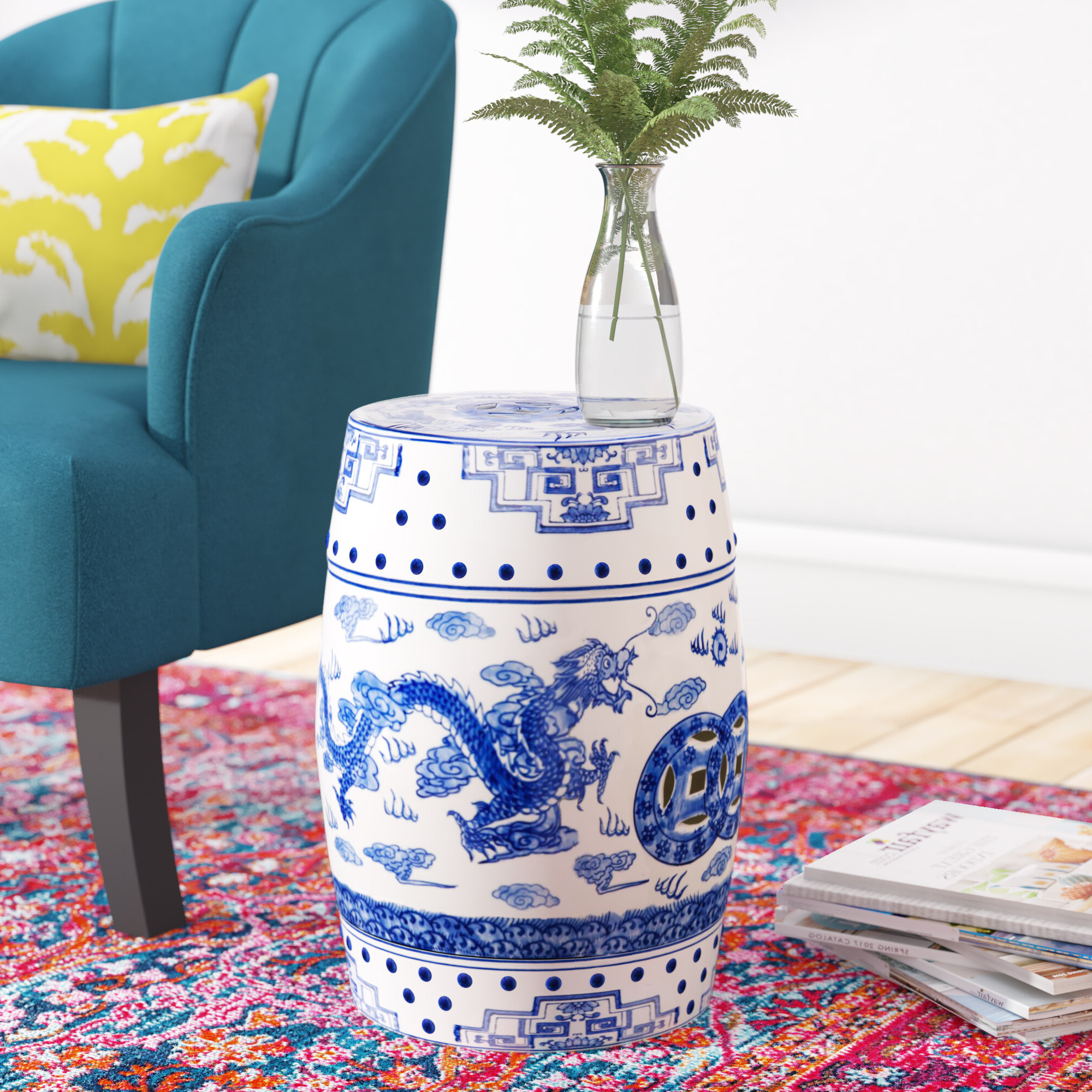 Blue & White Garden Stools You'll Love In 2020 With 2020 Middlet Owl Ceramic Garden Stools (View 9 of 30)