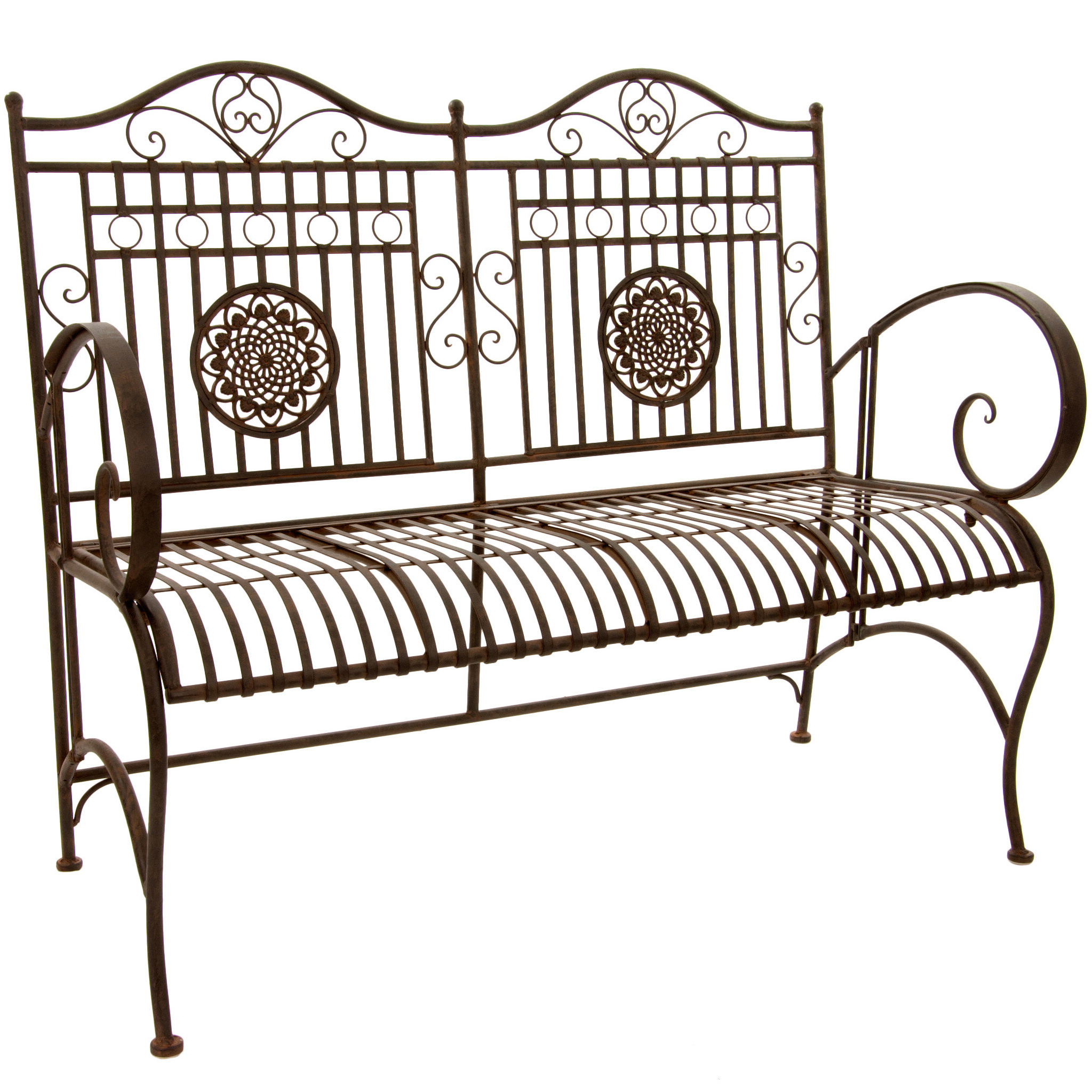 Bodner Rustic Metal Garden Bench For Most Recent Strasburg Blossoming Decorative Iron Garden Benches (View 6 of 30)