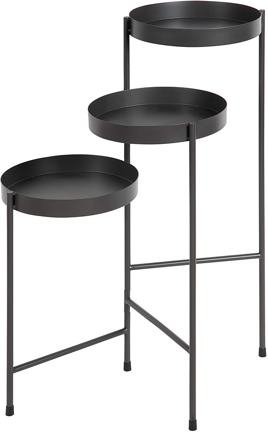 Bracey Garden Stools Pertaining To Well Known Kate And Laurel Finn Tri Level Metal Plant Stand, Charcoal Gray, Decorative Hinged Tray Stand Display (View 27 of 30)