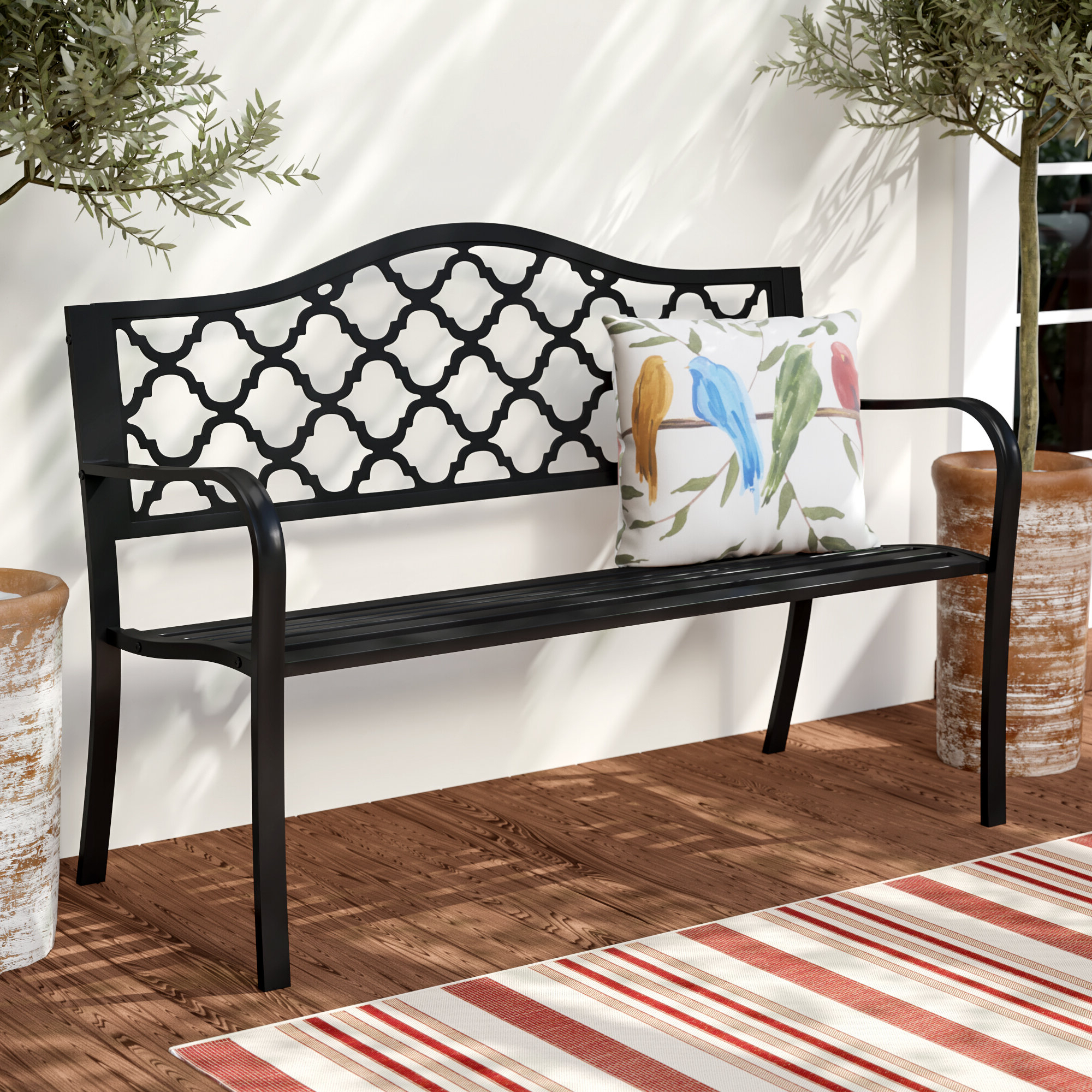 Braymer Patio Cast Iron Garden Bench Within Best And Newest Ismenia Checkered Outdoor Cast Aluminum Patio Garden Benches (View 28 of 30)