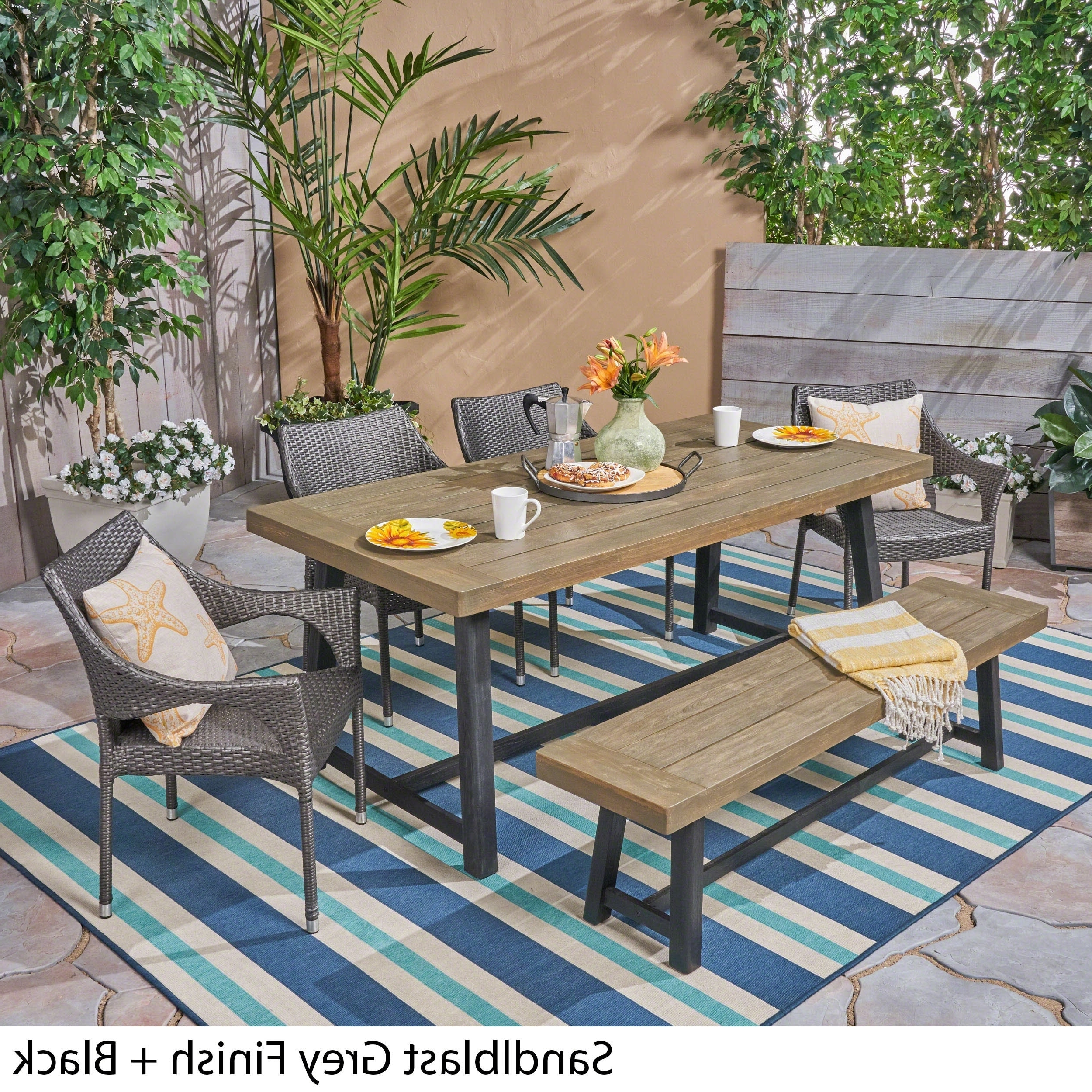 Brecken Outdoor 6 Piece Wood And Wicker Dining Set With Stacking Chairs And Benchchristopher Knight Home With Popular Brecken Teak Garden Benches (View 13 of 30)