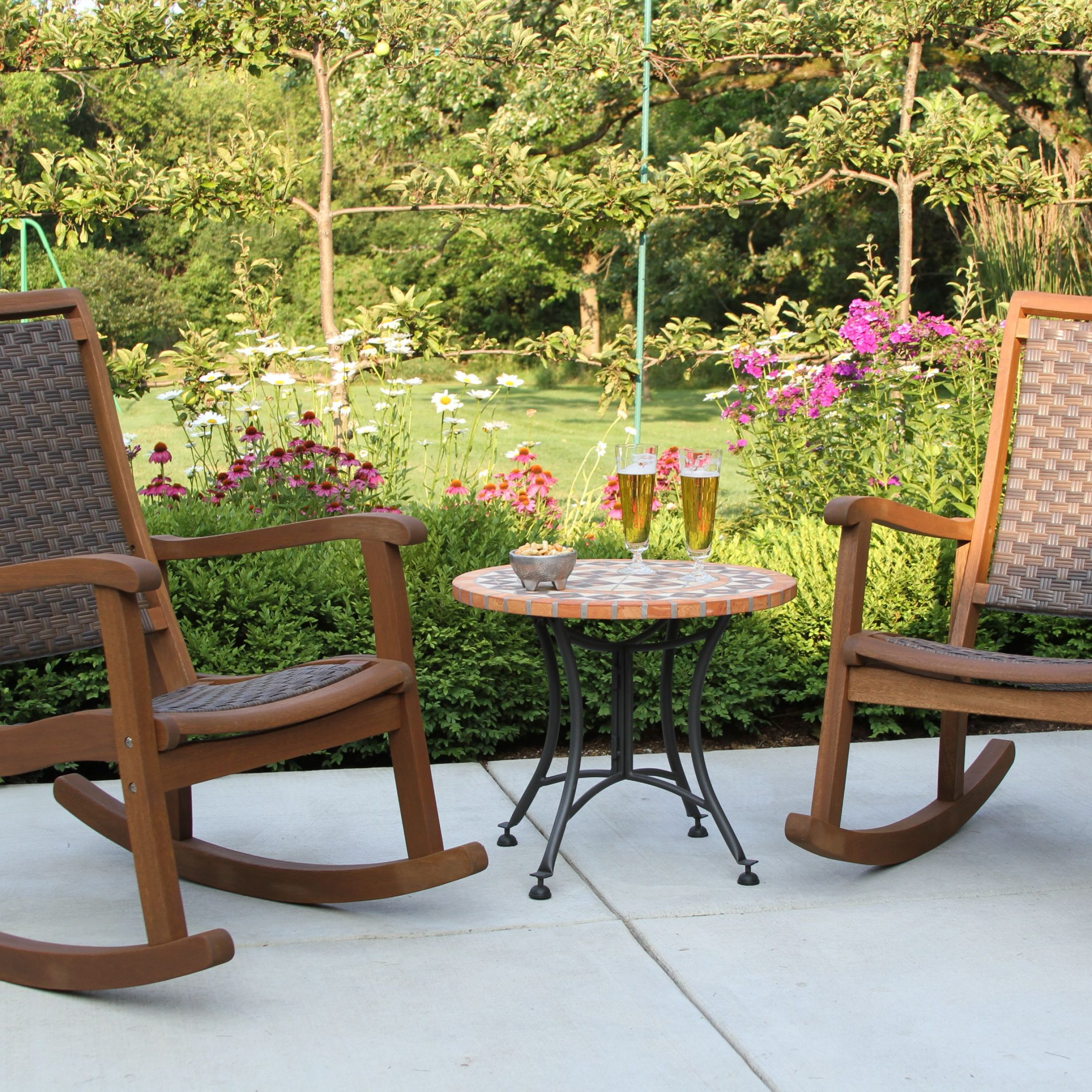 Brown All Weather Wicker & Eucalyptus Rocking Chairs & Terra Within 2020 Lublin Wicker Tete A Tete Benches (View 12 of 30)