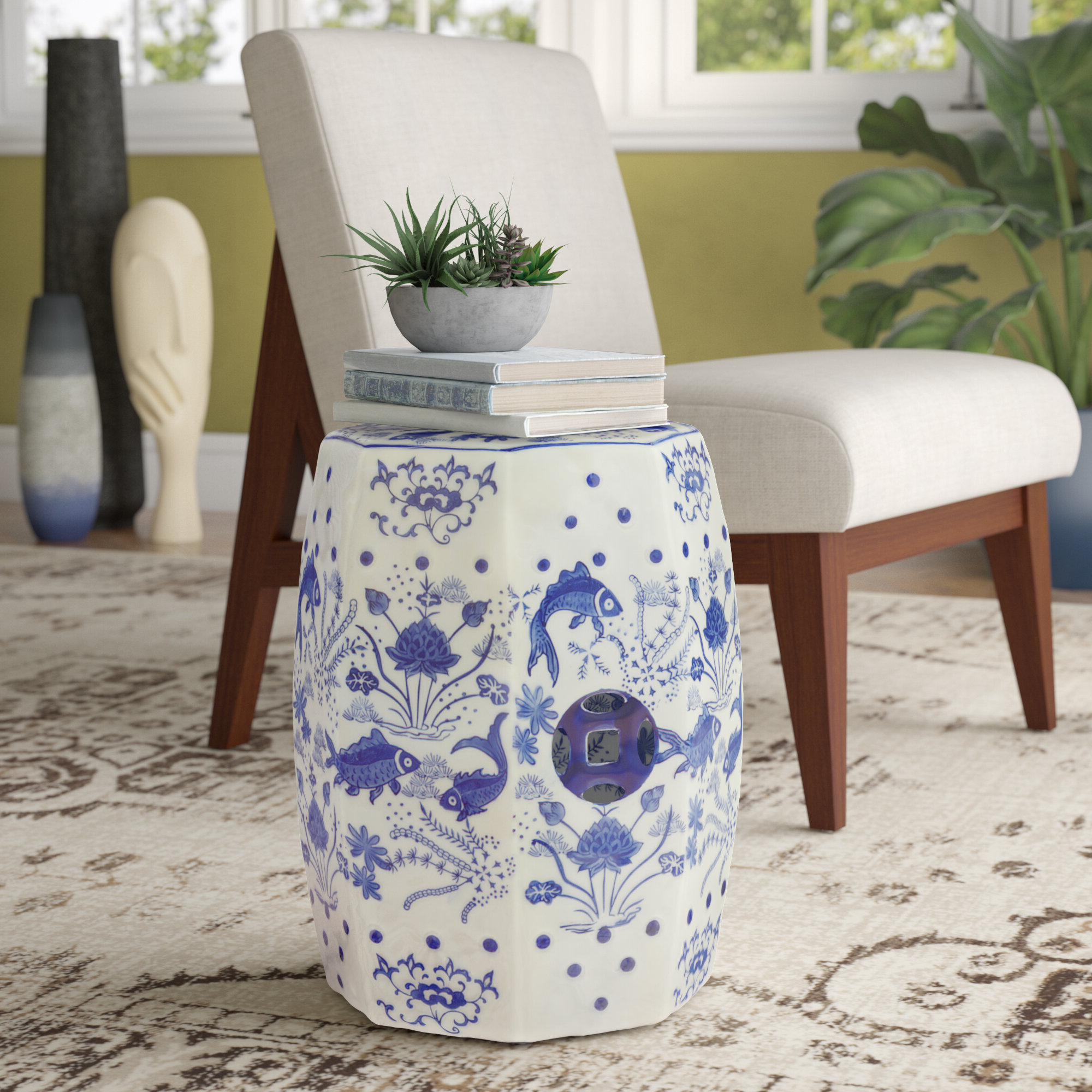 Carmon Ceramic Garden Tool In Most Current Garden White Accent Stools You'll Love In (View 25 of 30)