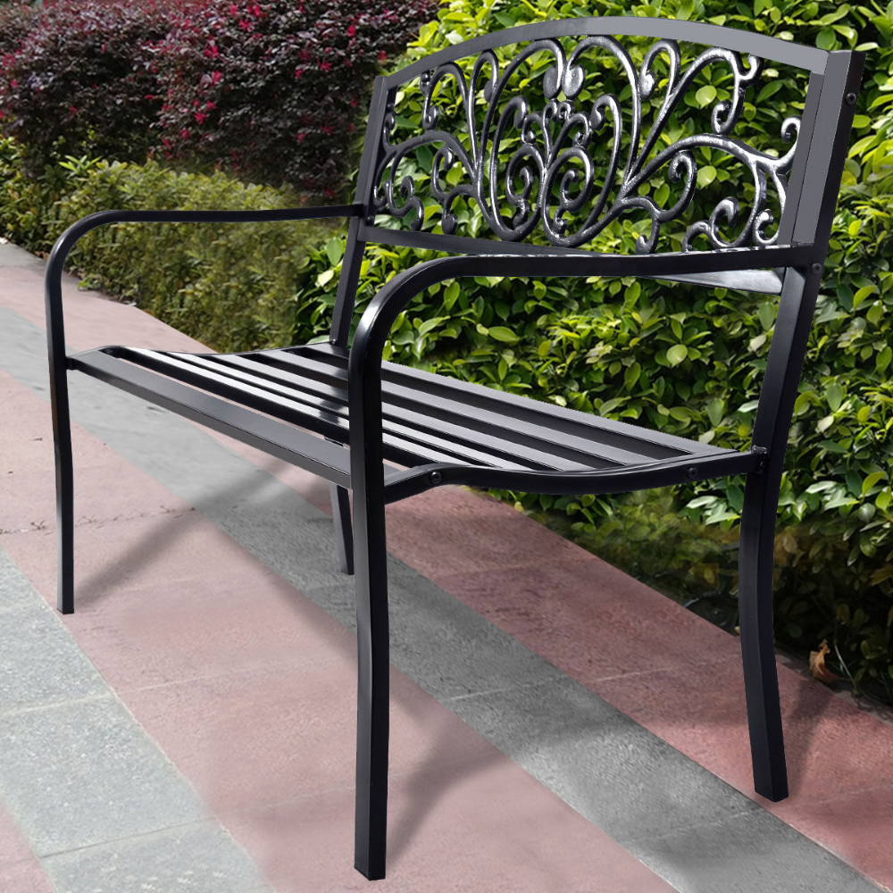 Celtic Knot Iron Garden Benches In Most Recently Released Costway 50'' Patio Park Garden Bench Porch Chair Steel Frame (View 27 of 30)