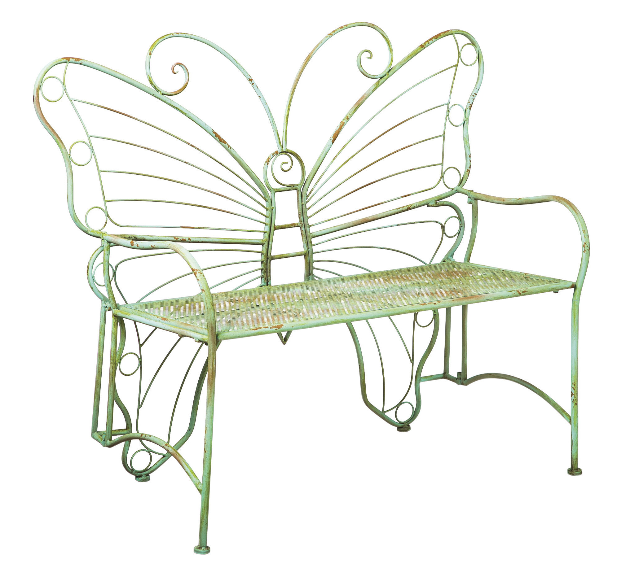 Clementina Butterfly Metal Park Bench With Famous Caryn Colored Butterflies Metal Garden Benches (View 14 of 30)