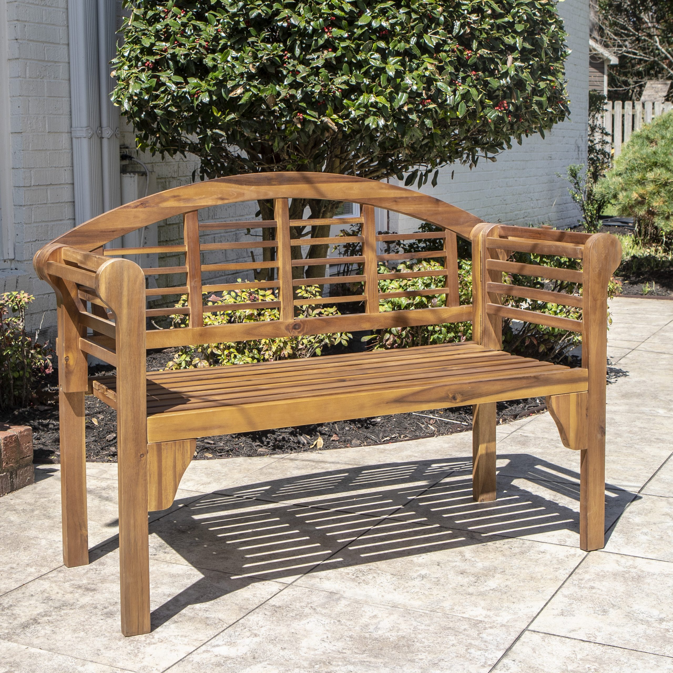 Coleen Outdoor Teak Garden Benches Throughout Trendy Mae Wood Garden Bench (View 6 of 30)