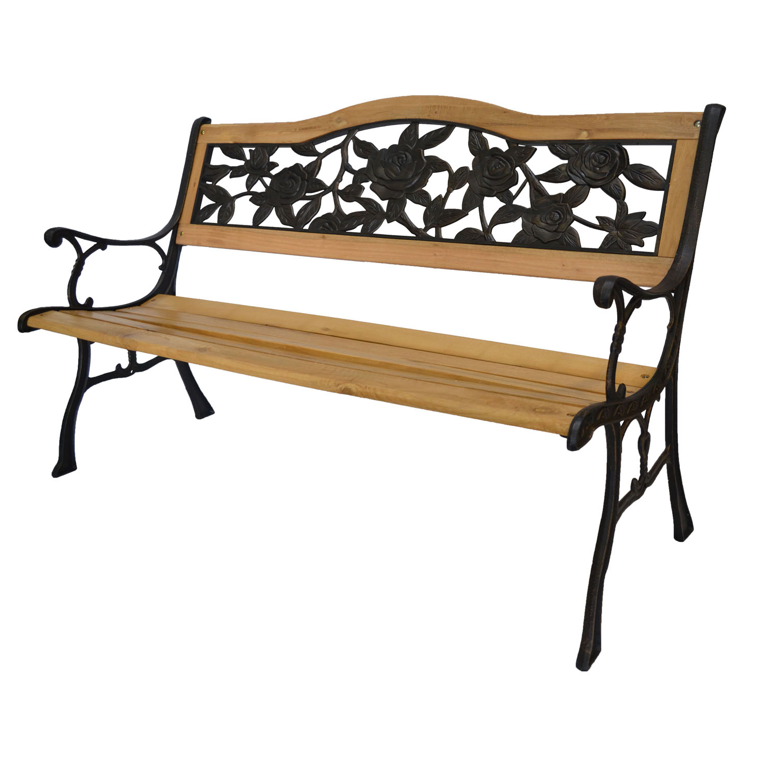 Current Blooming Iron Garden Benches Throughout Rose Bloom Cast Iron Park Bench W/ Resin Back Insert For Yard Or Garden V2 – Walmart (View 14 of 30)