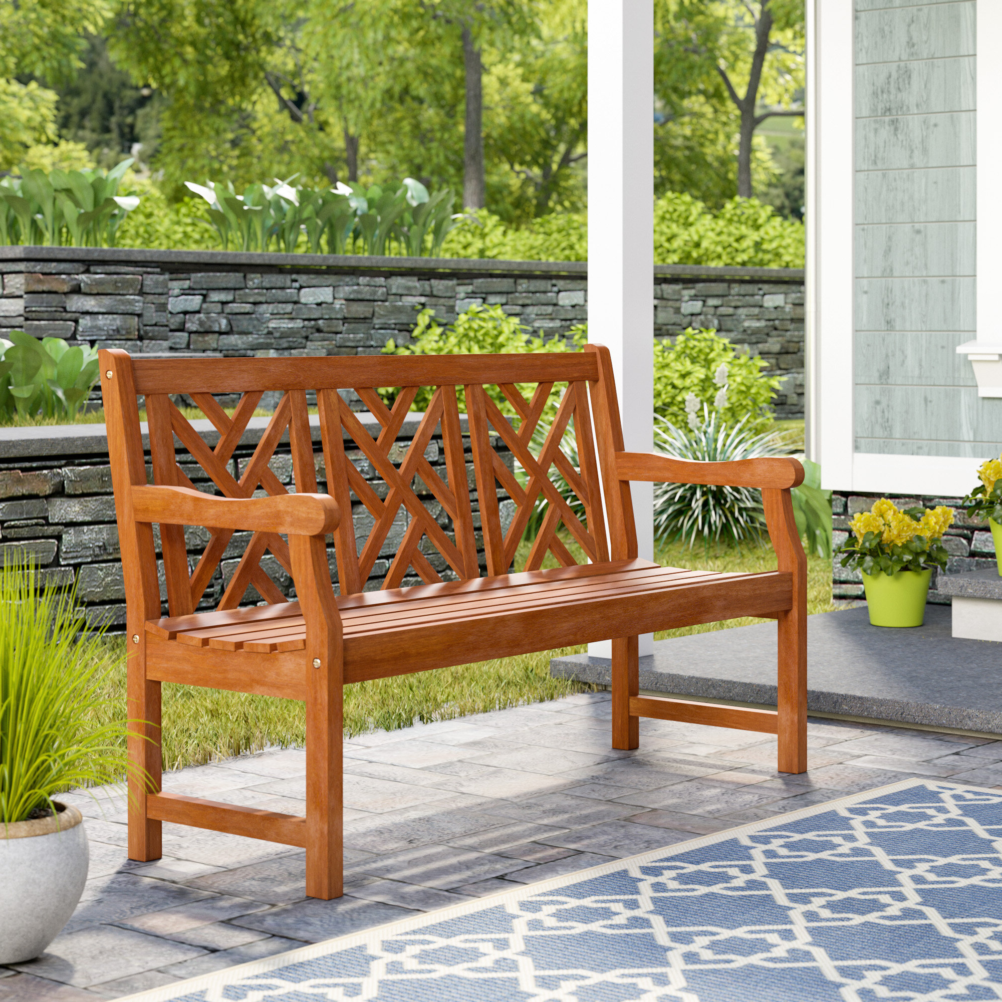 Current Elsner Acacia Garden Benches With Regard To Amabel Wooden Garden Bench (View 28 of 30)
