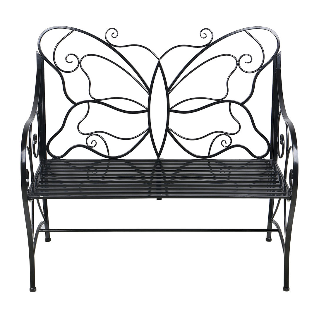 Current Metal Antique Outdoor Garden Bench Leisure Butterfly Bench, Black With Regard To Caryn Colored Butterflies Metal Garden Benches (View 25 of 30)