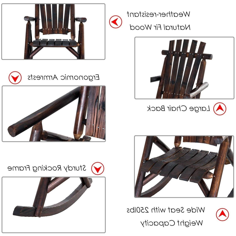 Current Outsunny Fir Wood Rustic Outdoor Patio Adirondack Rocking Chair Furniture Regarding Krystal Ergonomic Metal Garden Benches (View 26 of 30)