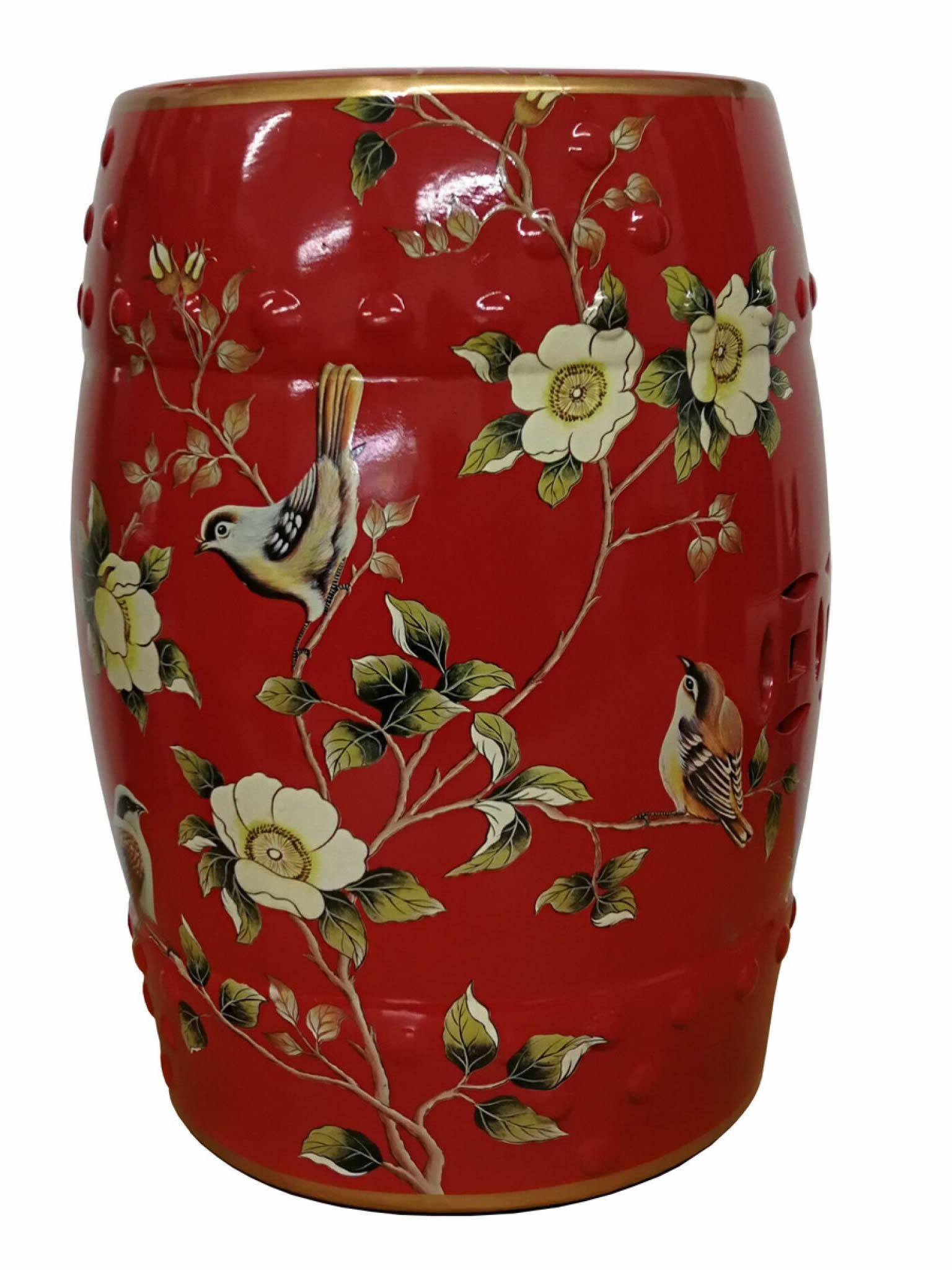 Current Renee Porcelain Garden Stools Regarding Red Chinese Porcelain Stool – Birds Theme (View 28 of 30)