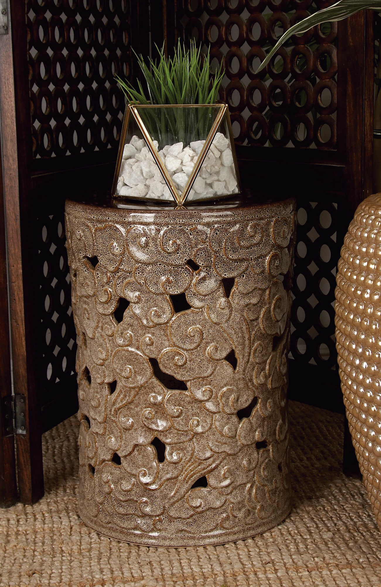 Current World Menagerie Aven Ceramic Scroll Garden Stool In Fifi Ceramic Garden Stools (View 14 of 30)